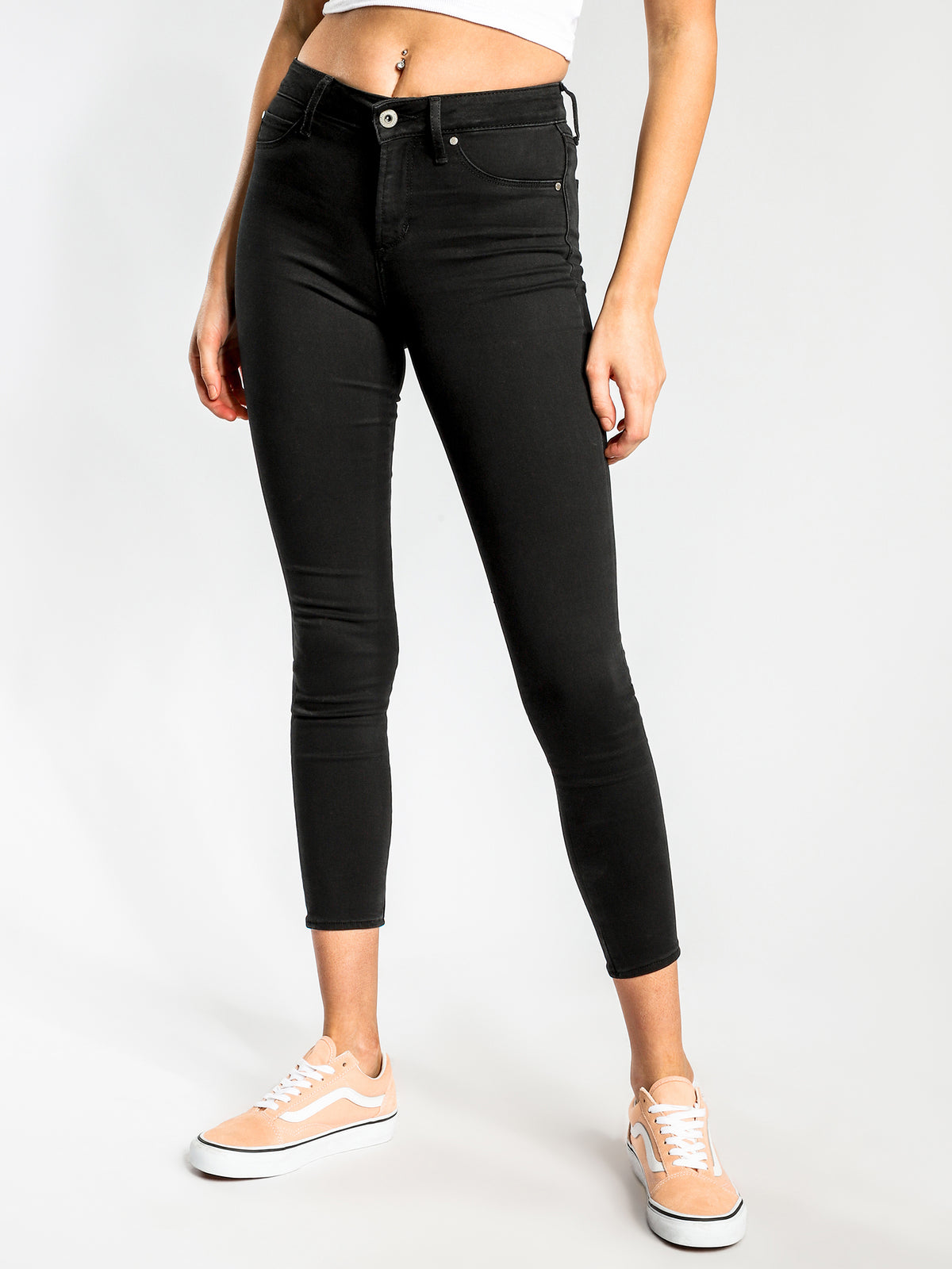 Cisco High-Rise Super-Skinny Jeans in Black-Out Denim