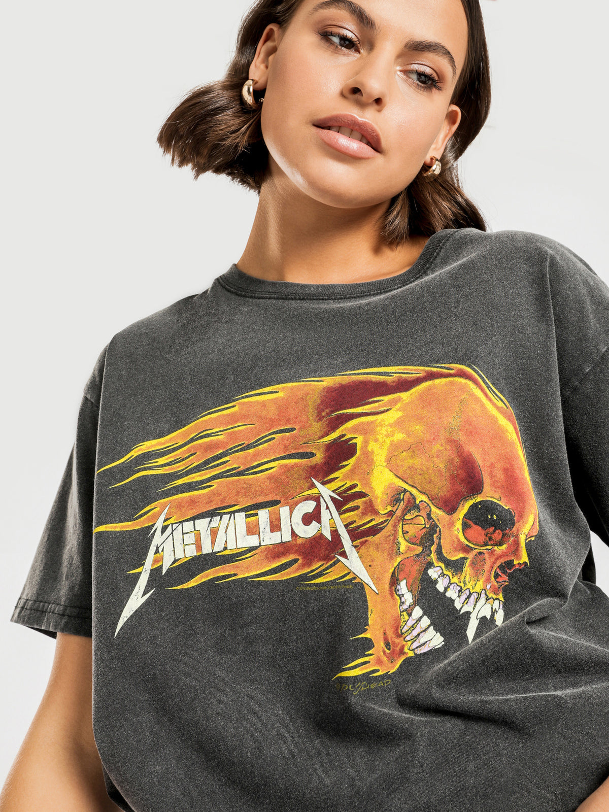 Metallica Flaming Skull T-Shirt in Washed Black