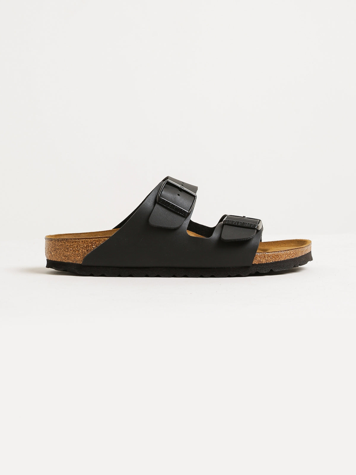 Unisex Arizona Two-Strap Narrow Width Sandals in Black Birko-Flor