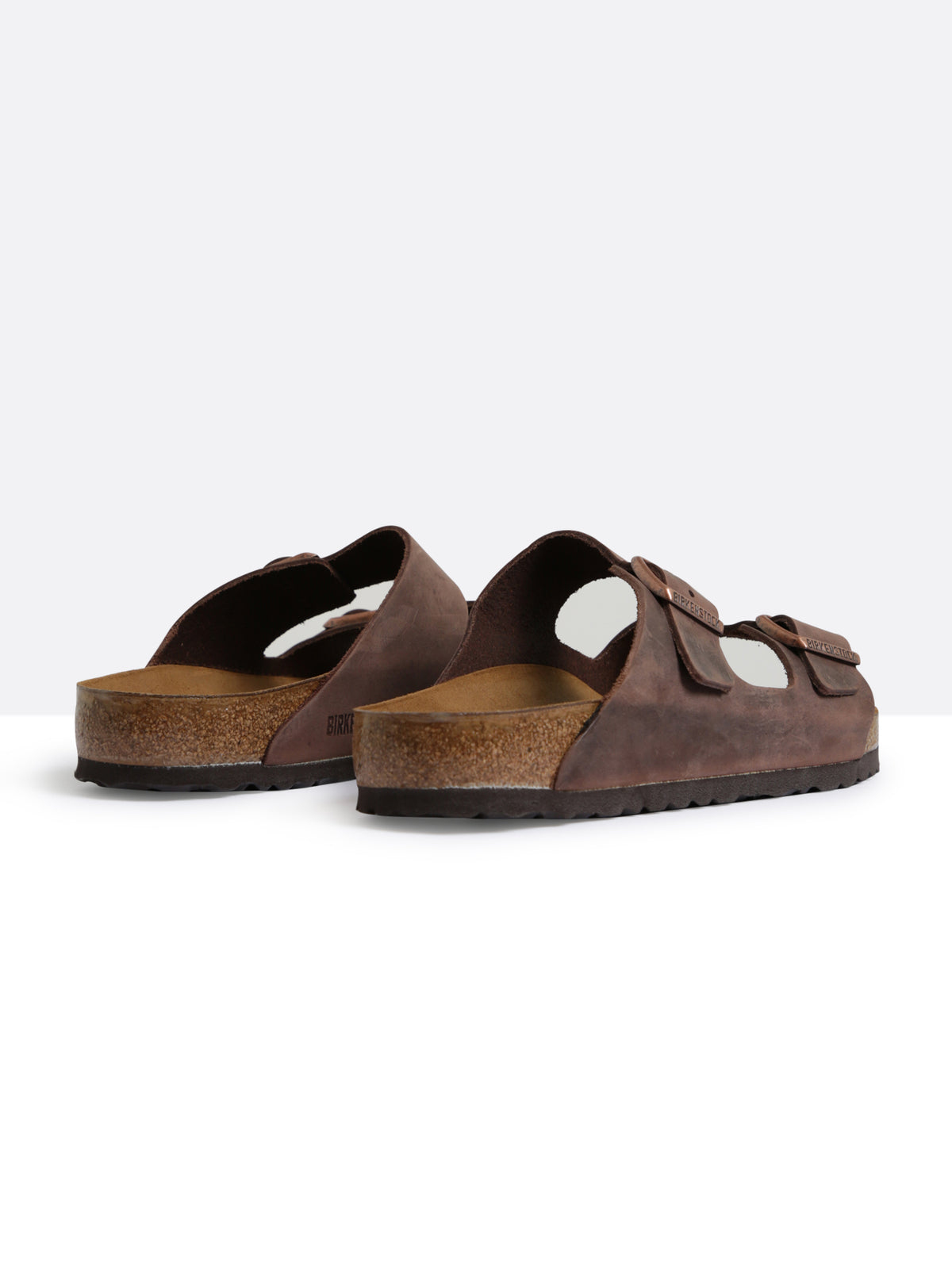 Mens Arizona Two-Strap Regular Width Sandals in Habana Brown Oiled Leather