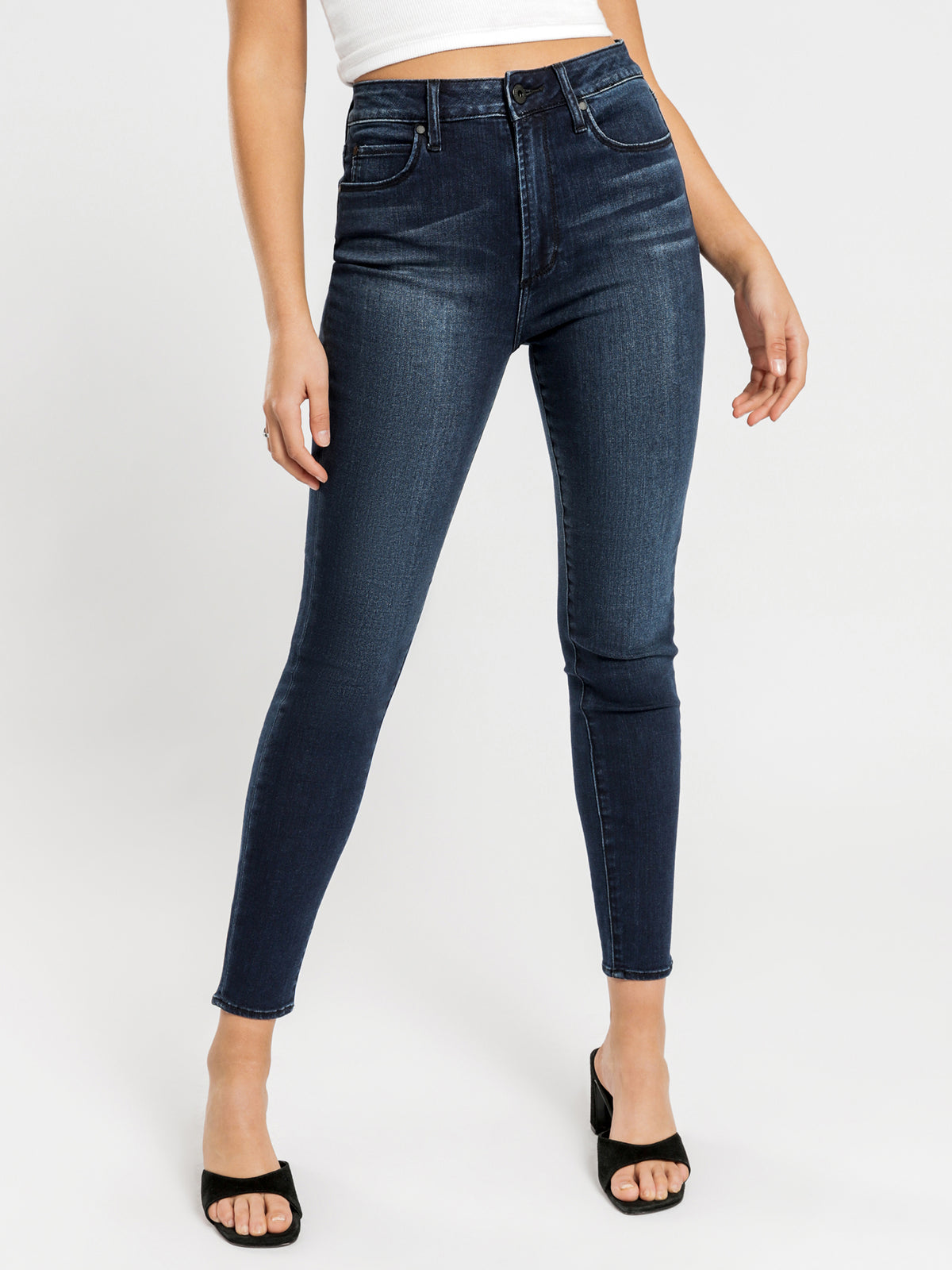 High Lisa Skinny Ankle Hug Jeans in Dark Midnight