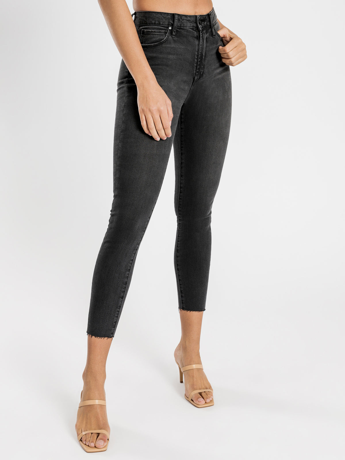 High Lisa Skinny Ankle Hug Jeans in Black Chester