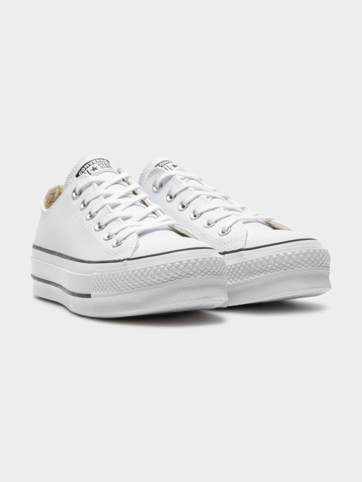Womens Chuck Taylor All Star Leather Platform Sneakers in White & Black