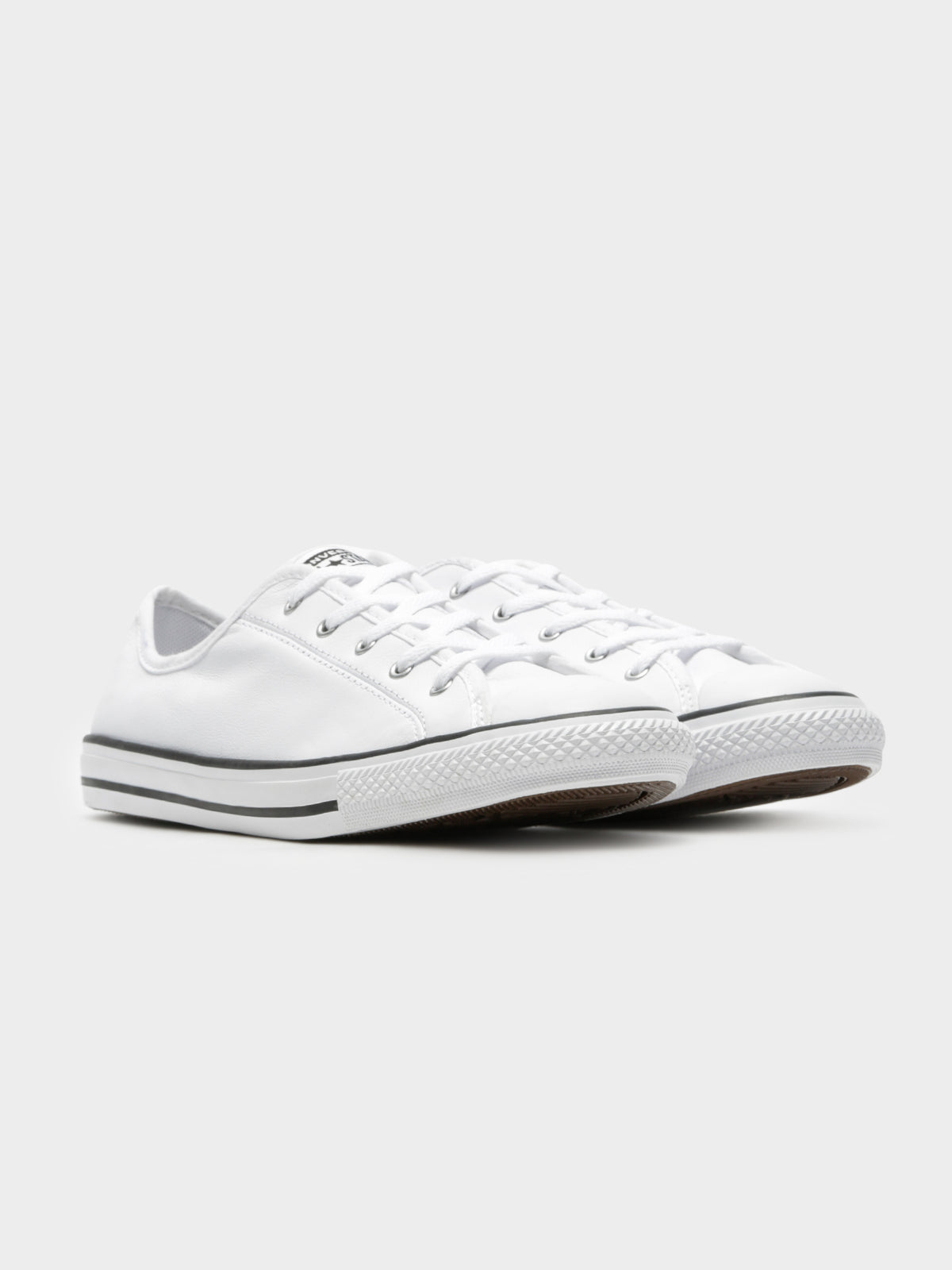 Dainty Leather Low Top Sneakers in White