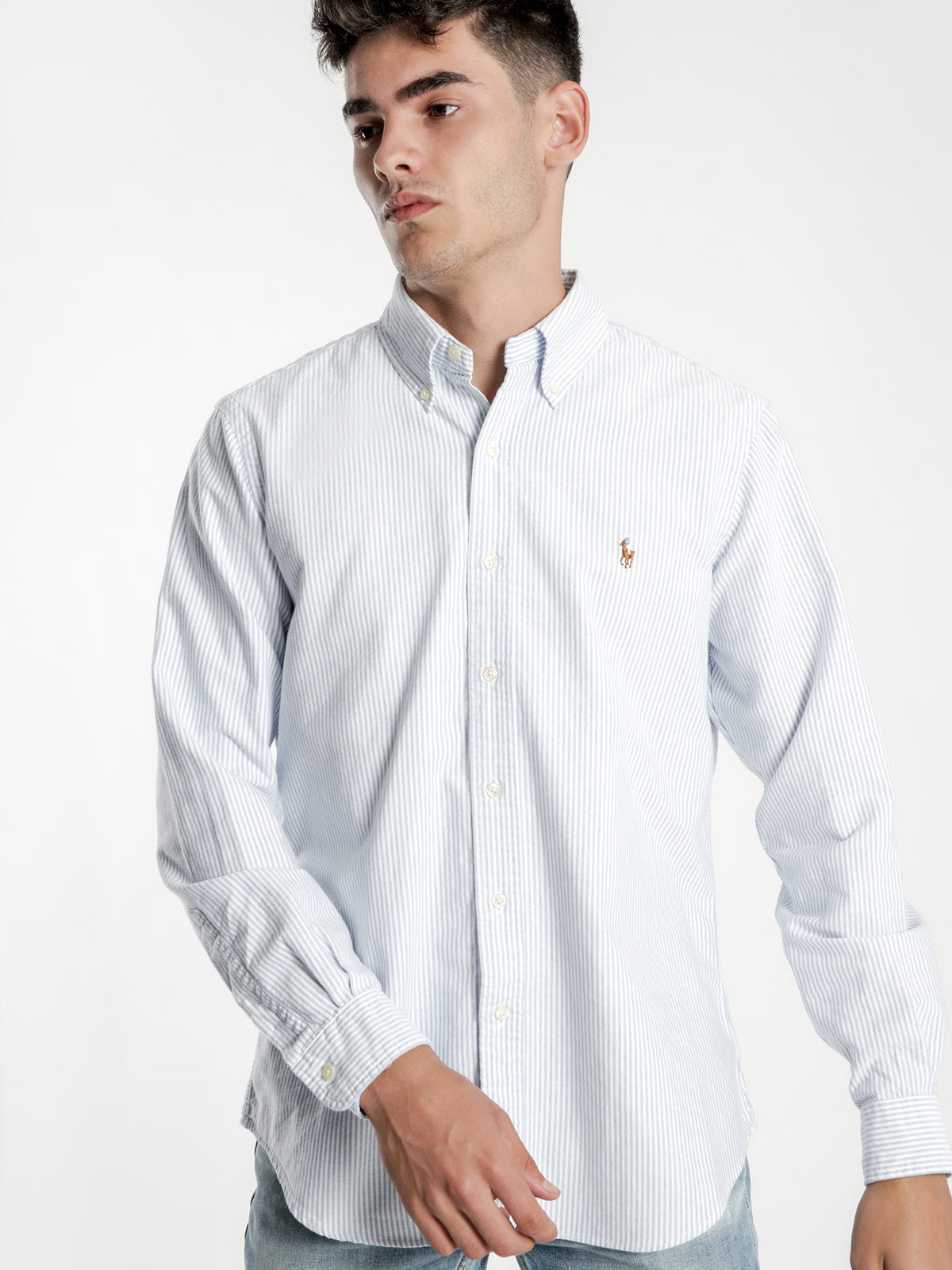 Standard Fit Oxford Sport Shirt in Blue & White Stripe
