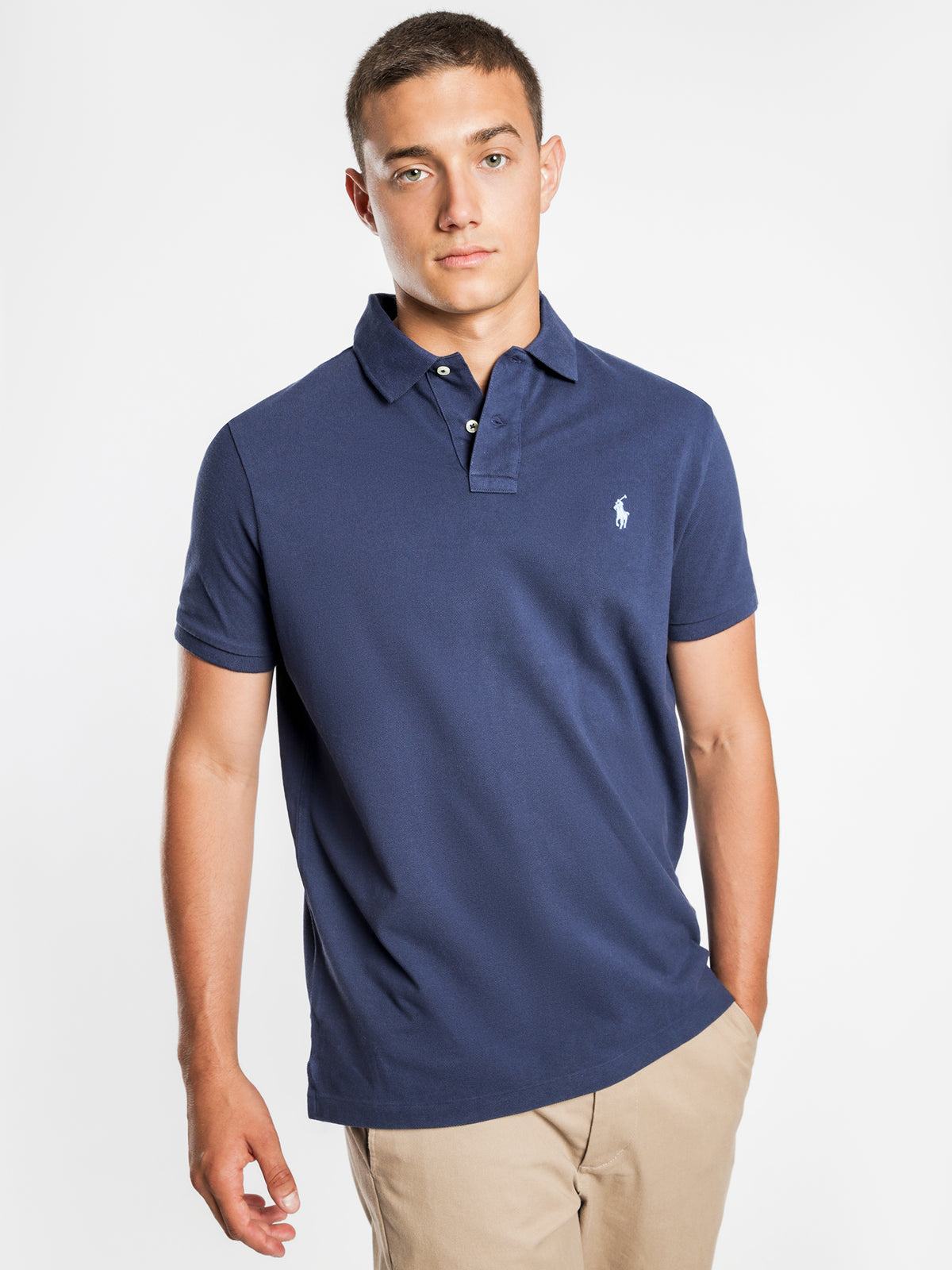 Custom Slim Polo T-Shirt in Navy