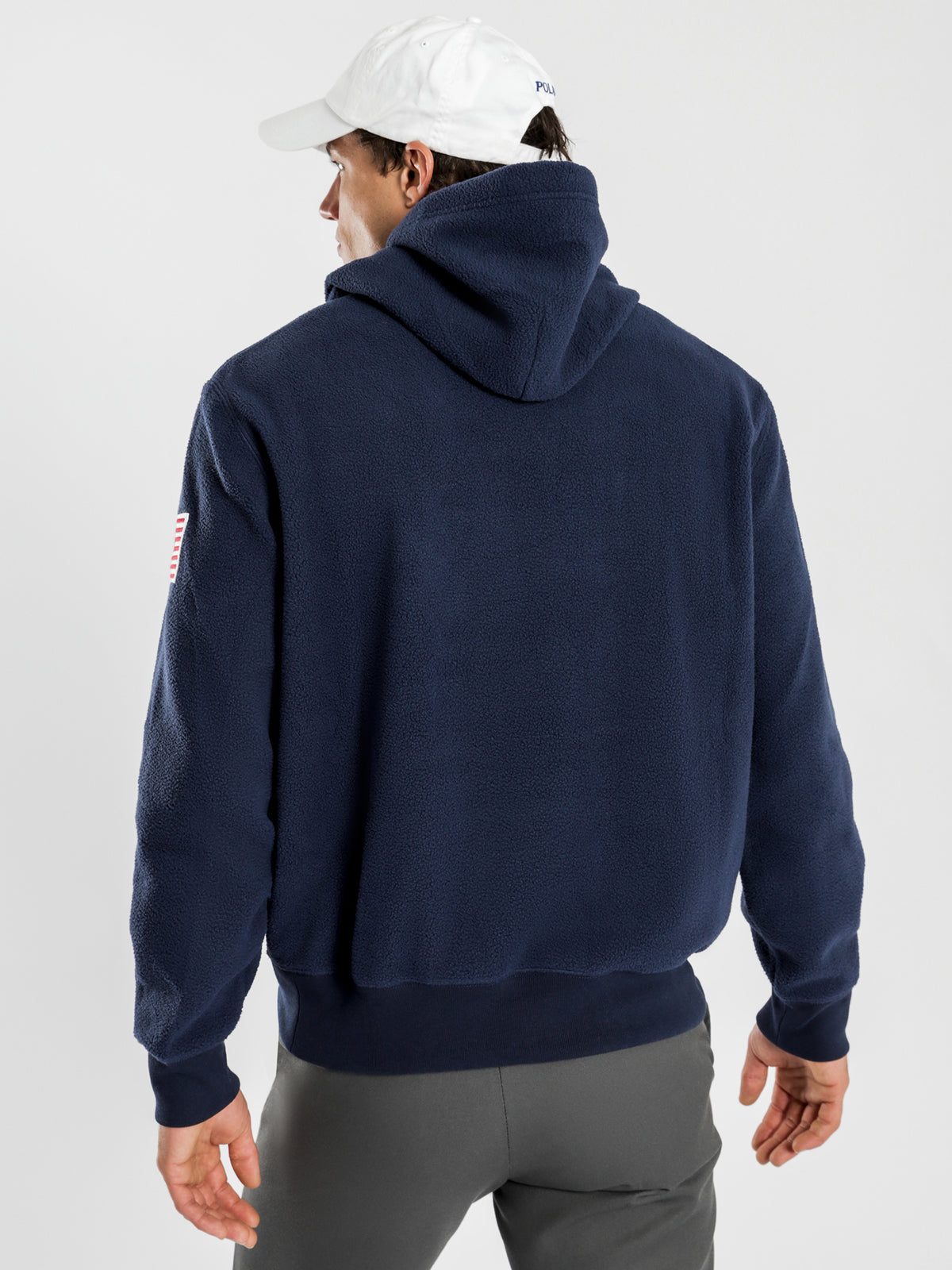 Polo Fleece Popover Hoodie in Navy