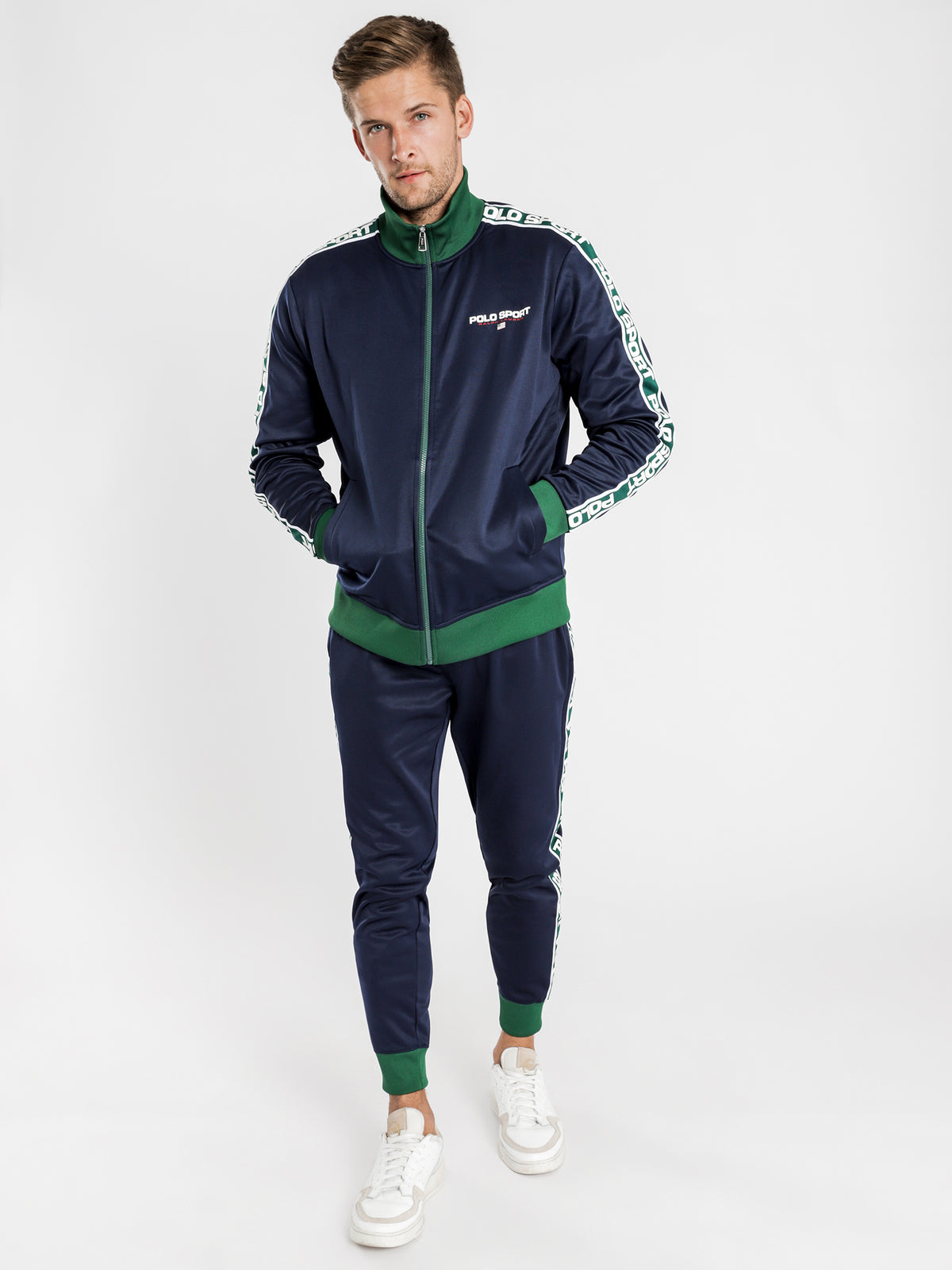 Sport Tape Track Jacket in Navy
