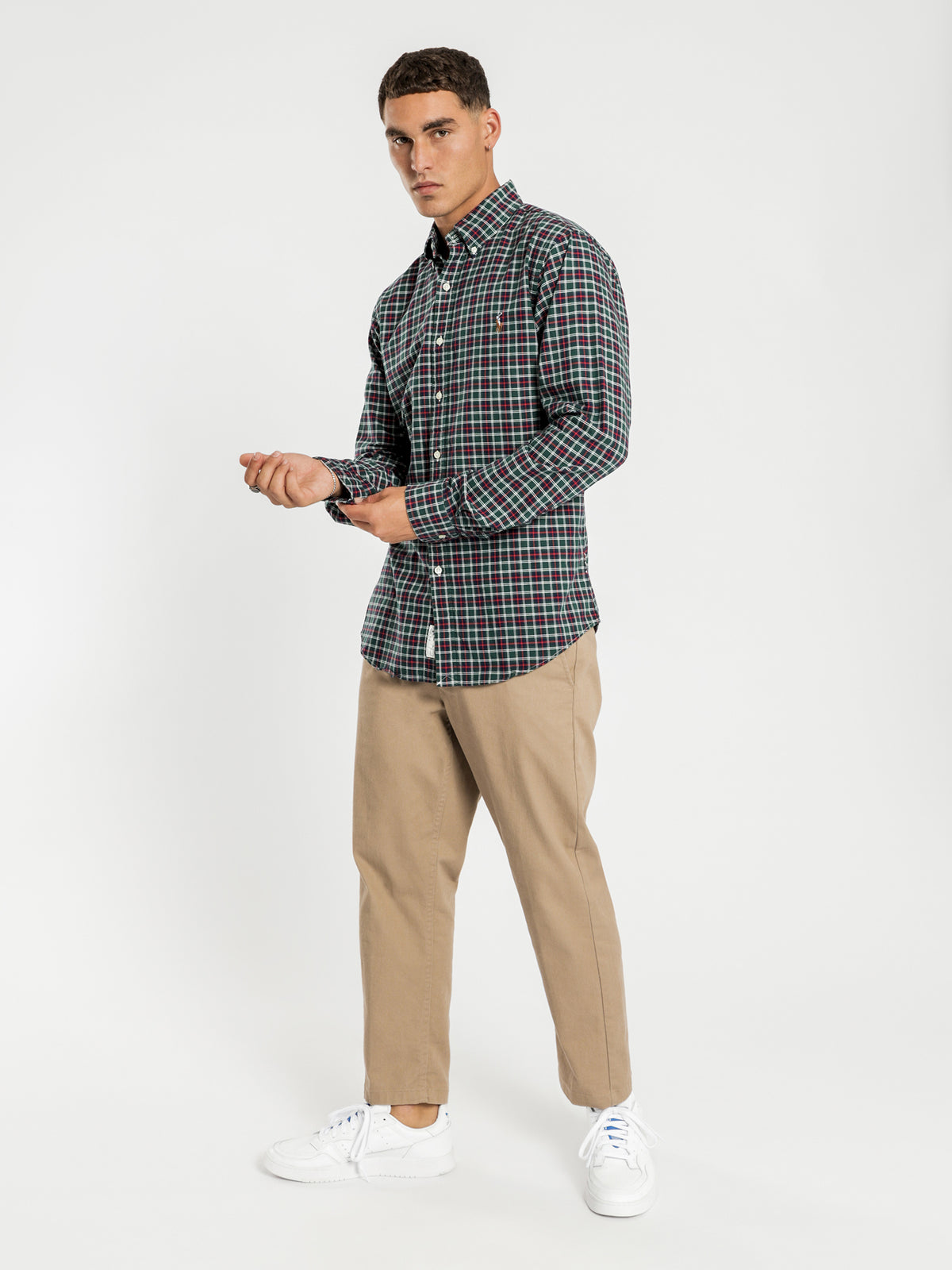 Oxford Long Sleeve Shirt in Green & Red Check