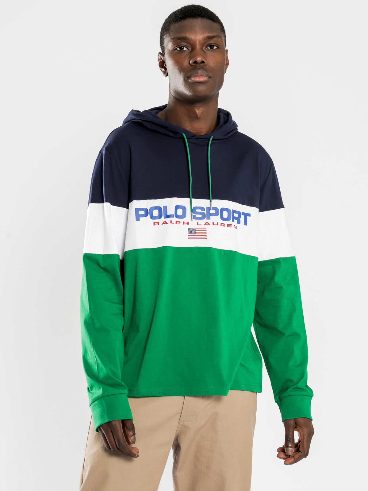 Polo Long Sleeve Hooded T-Shirt in Navy
