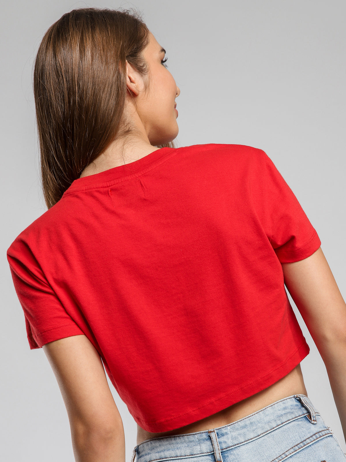 A Get Up Cropped T-Shirt in Red
