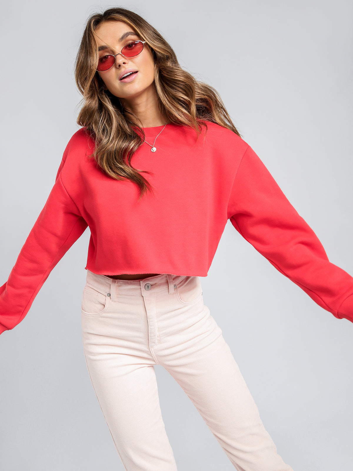 Carter Crop Sweatshirt in Vermillion Red