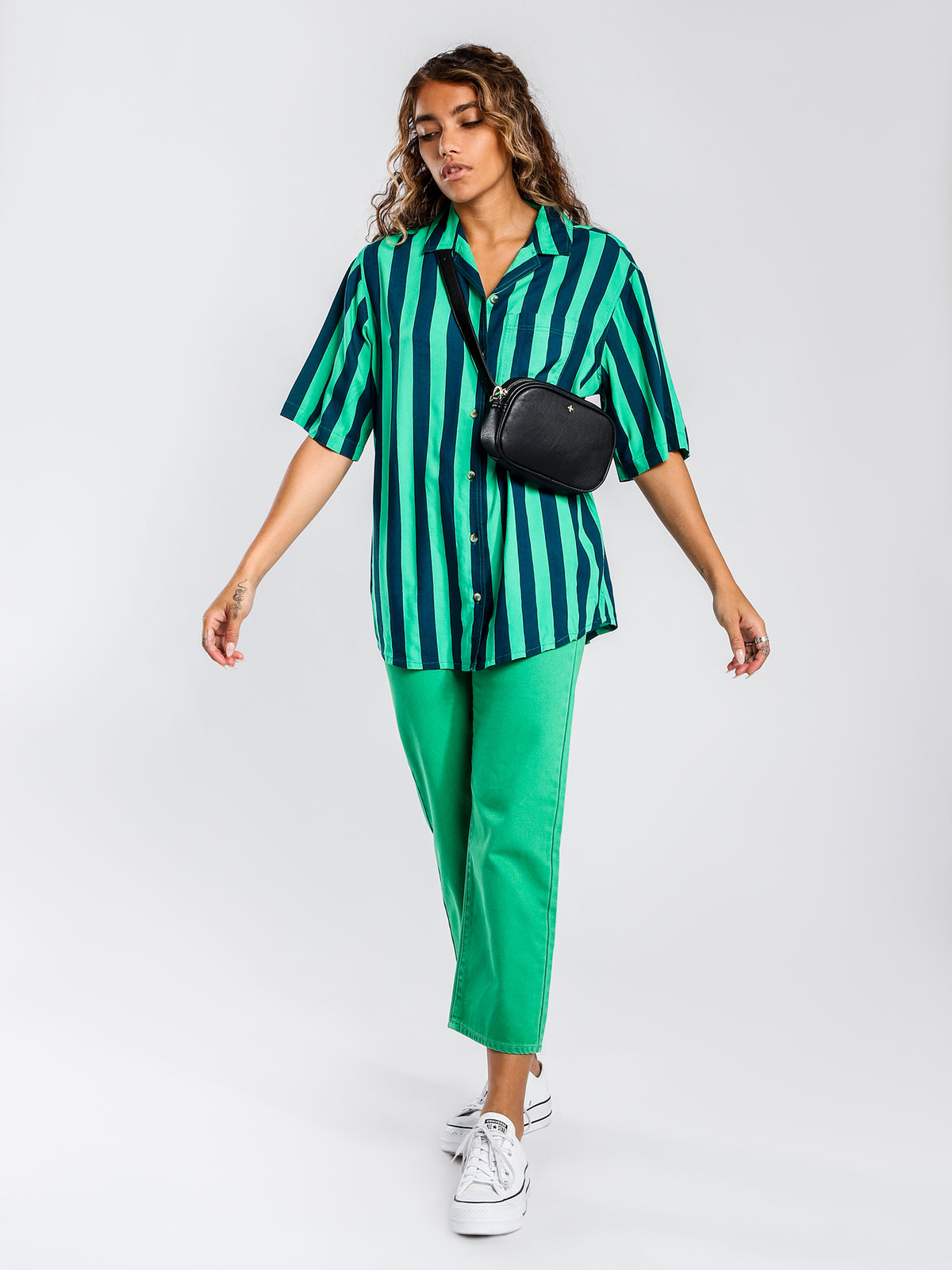 Hawaiian Short Sleeve Shirt in Green & Blue Stripe