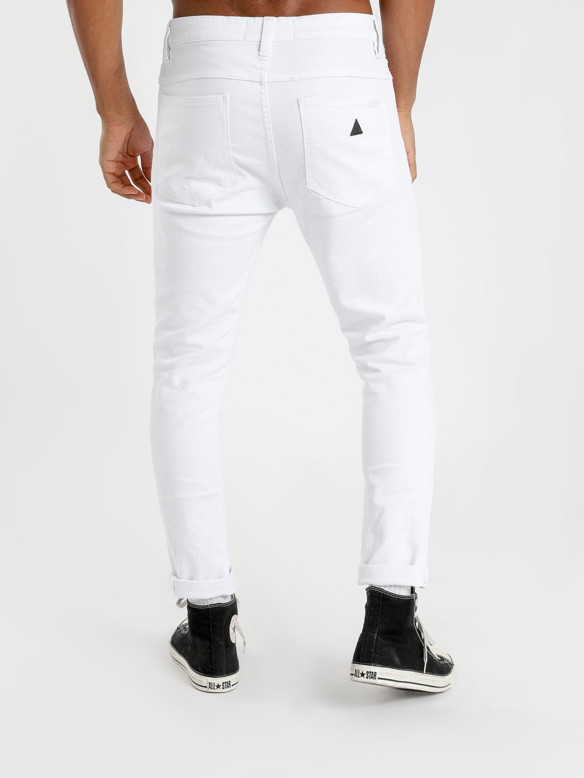 A Dropped Skinny Turn Up Jeans in White Denim