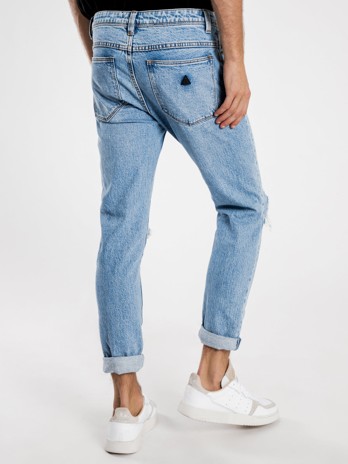 A Dropped Skinny Turn Up Jeans in Sketchy Blue Denim