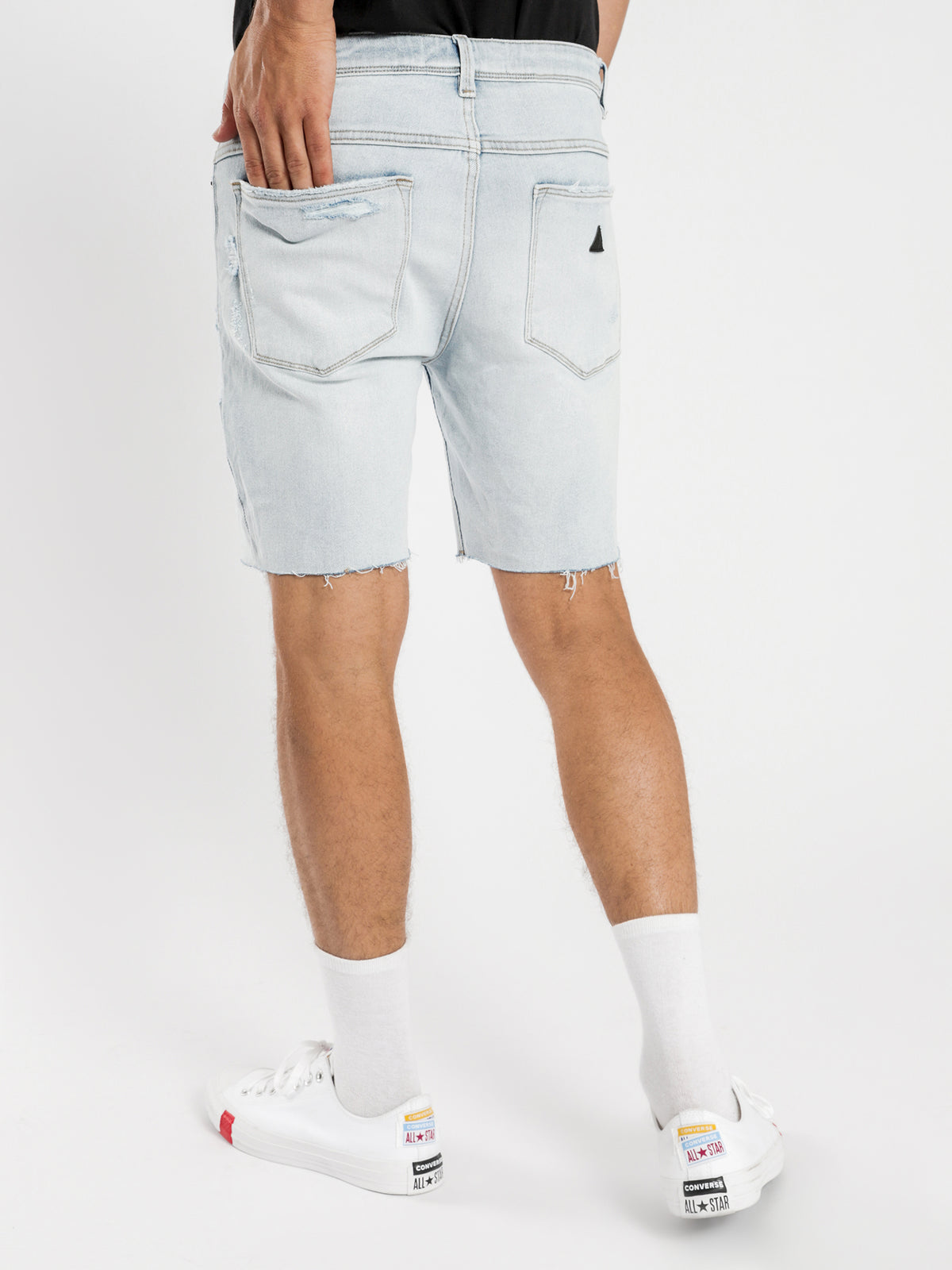 A Dropped Skinny Shorts in No Rules Blue Denim