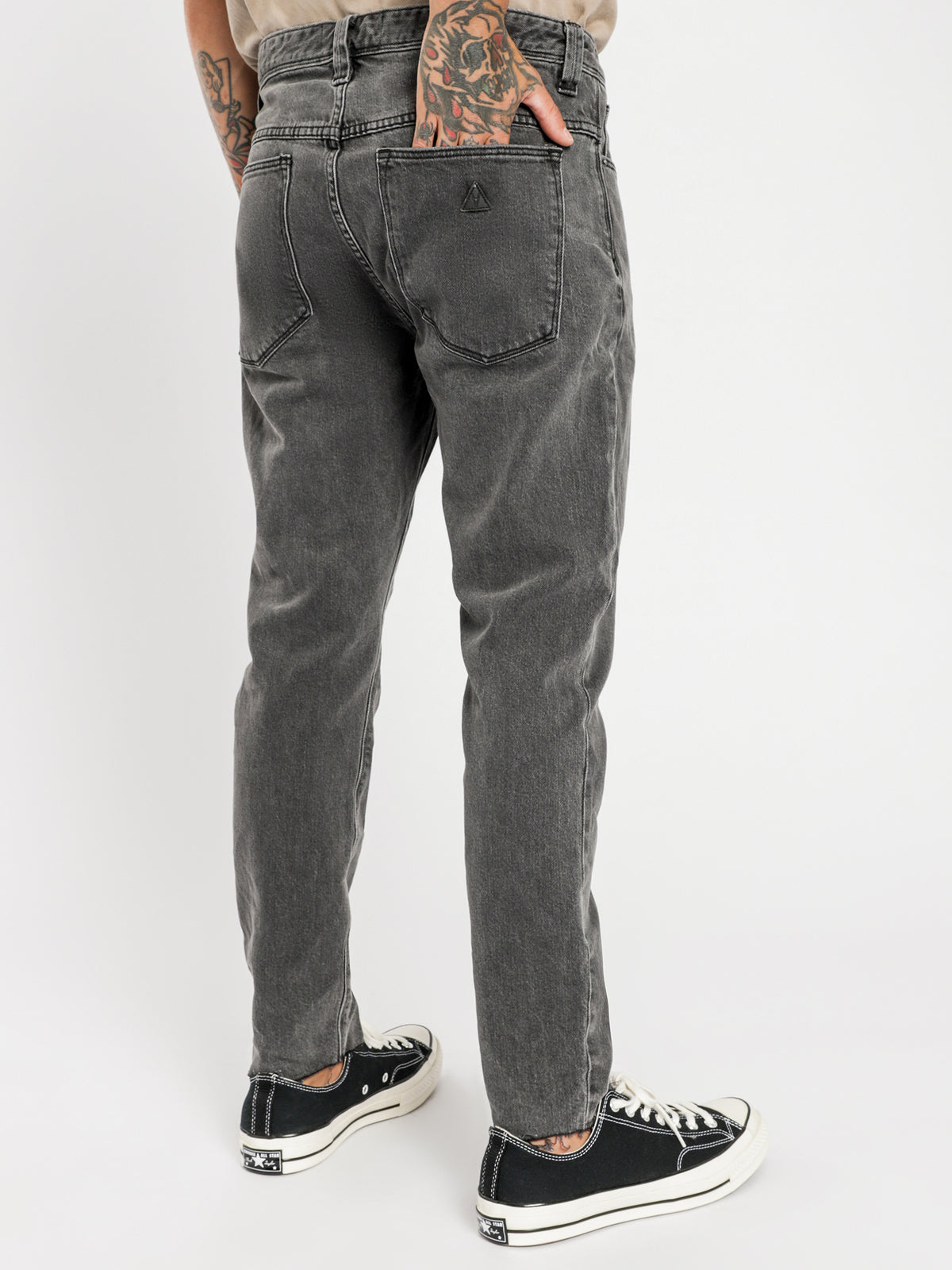 A Dropped Slim Turn Up Jeans in Phantom Black Denim