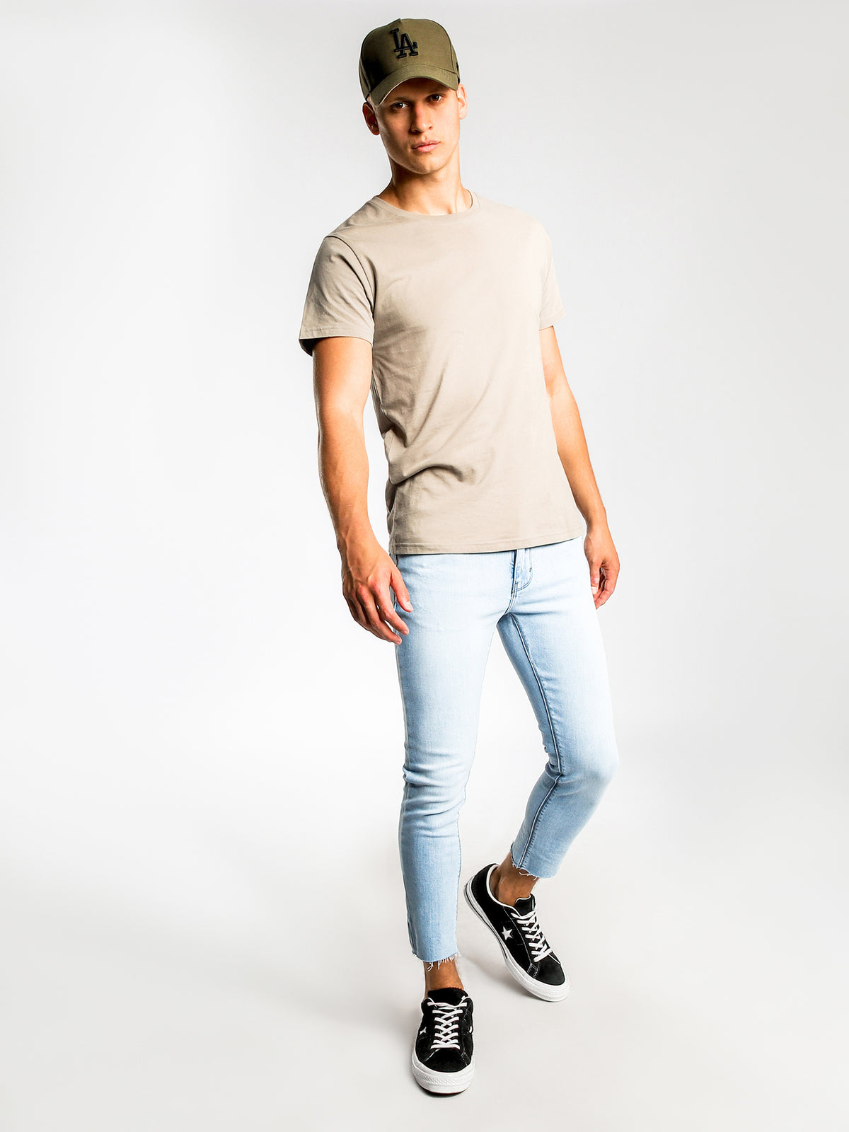 A Dropped Skinny Turn Up Jeans in Chill Blue Denim