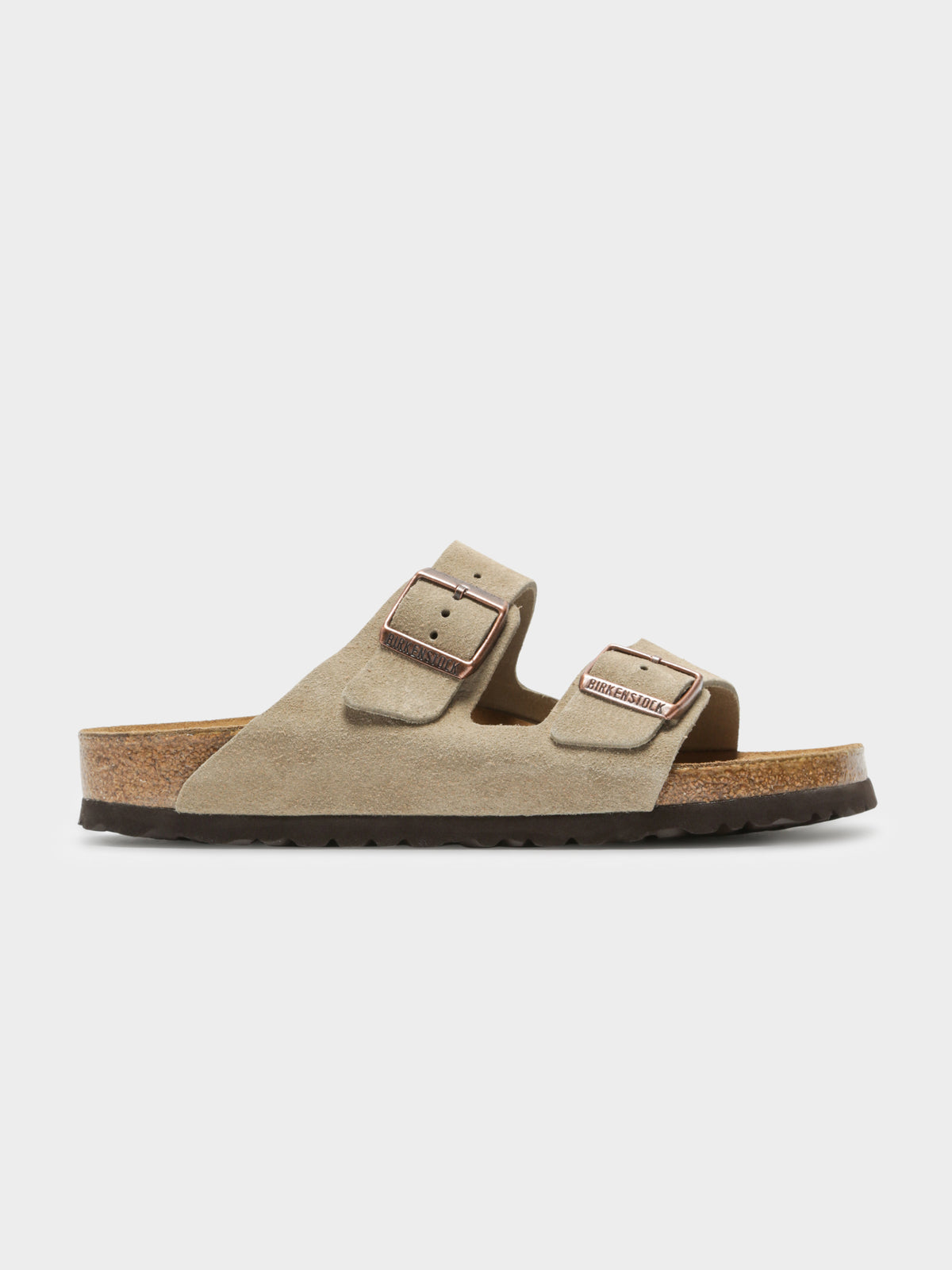 Unisex Arizona Two-Strap Sandals in Taupe Suede