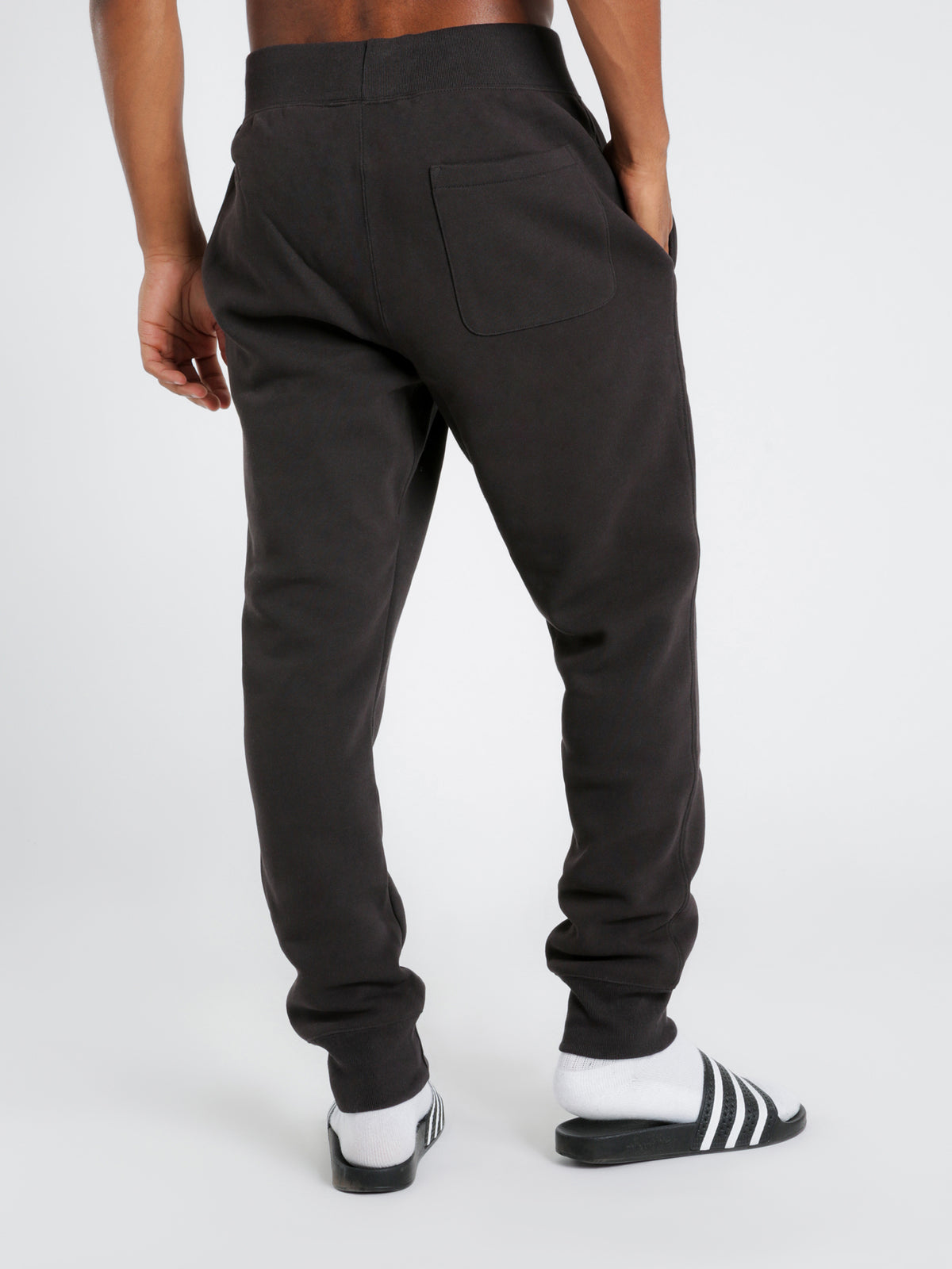 Reverse Weave Track Pants in Black