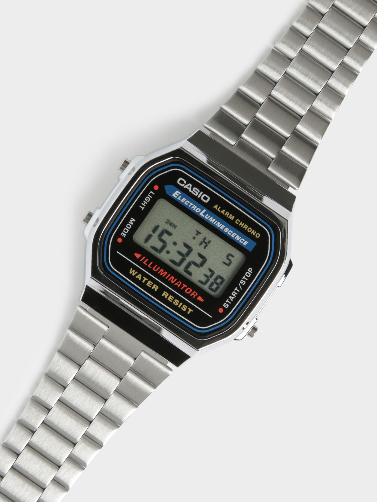 Mens A168WA-1 Illuminator Digital Watch in Silver
