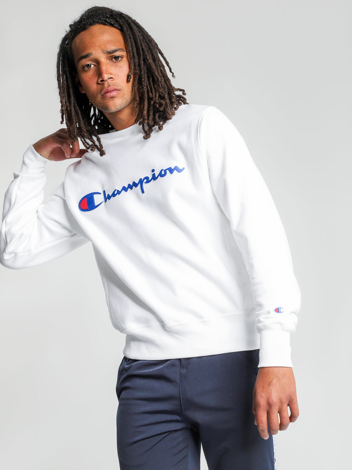 Reverse Weave Crew Logo Sweatshirt in White
