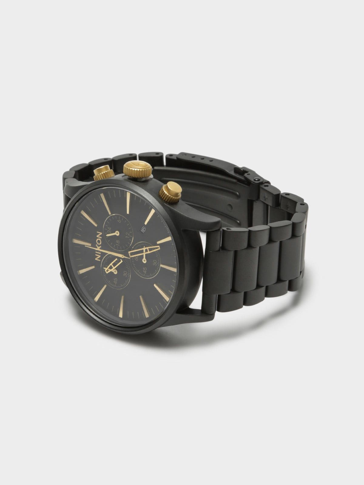 Mens Sentry 42mm Chronograph Analogue Watch in Black & Gold