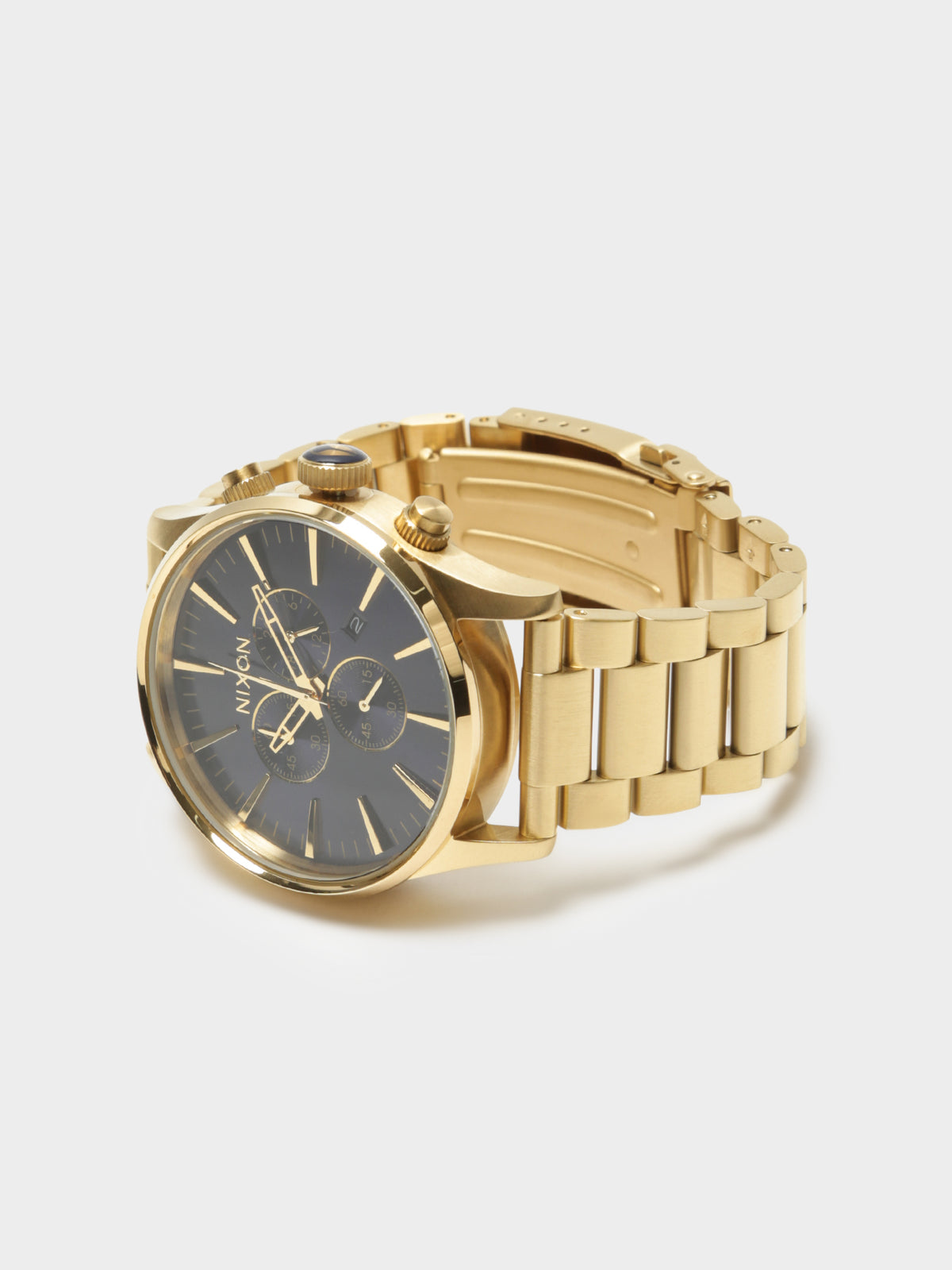 Mens Sentry 42mm Chronograph Analogue Watch in Gold & Blue