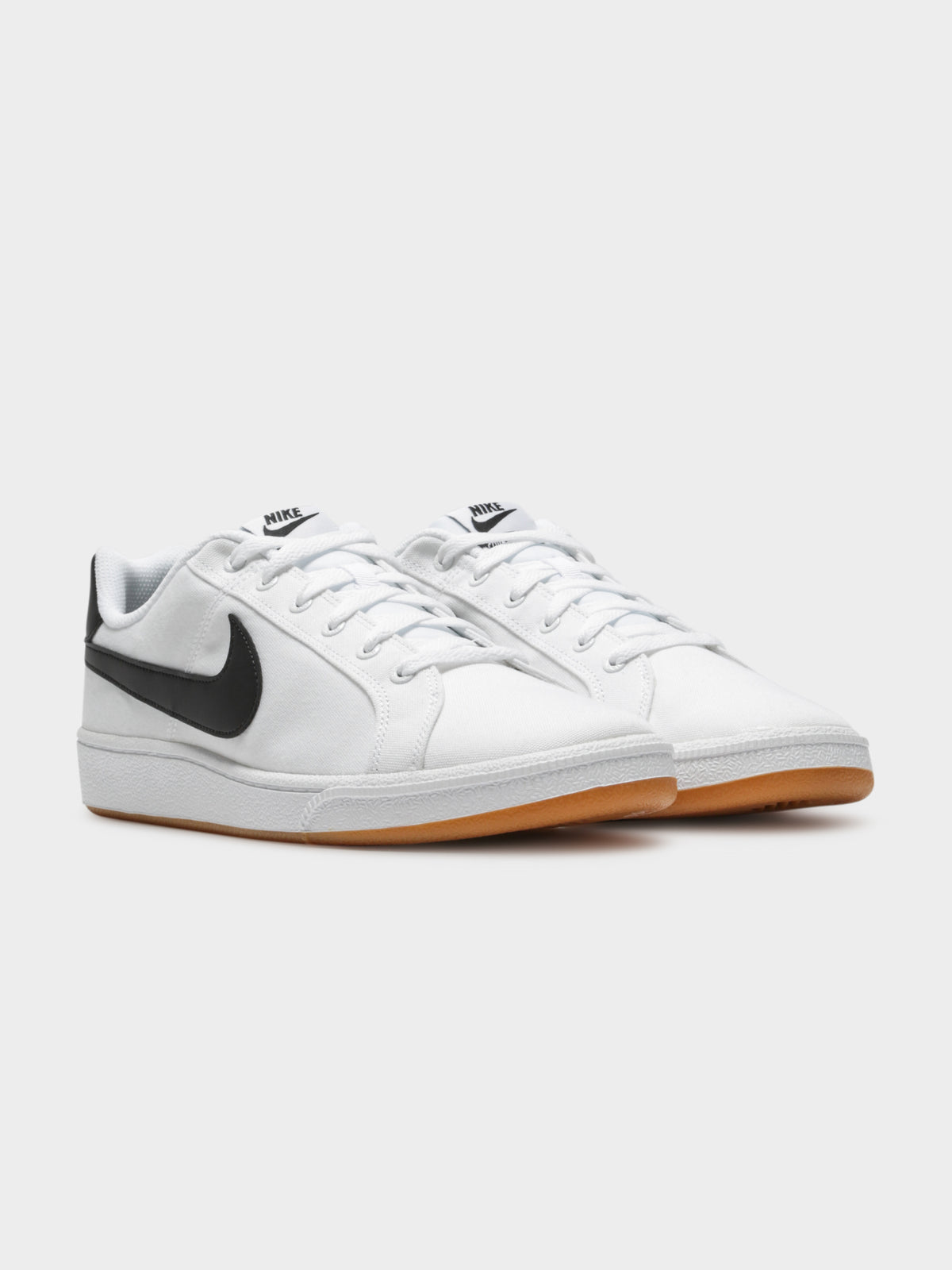 Mens Court Royale Canvas Sneakers in White & Black