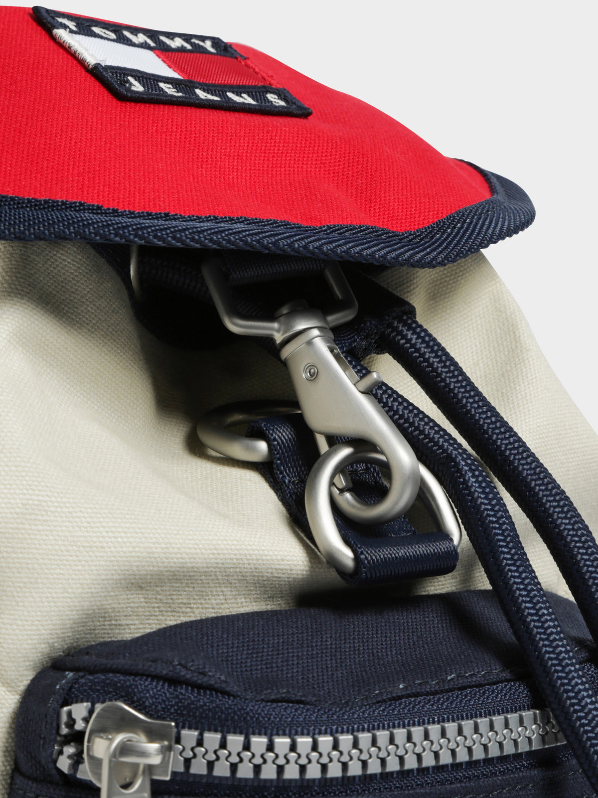 TJW Heritage Small Canvas Backpack in Cream Red & Navy