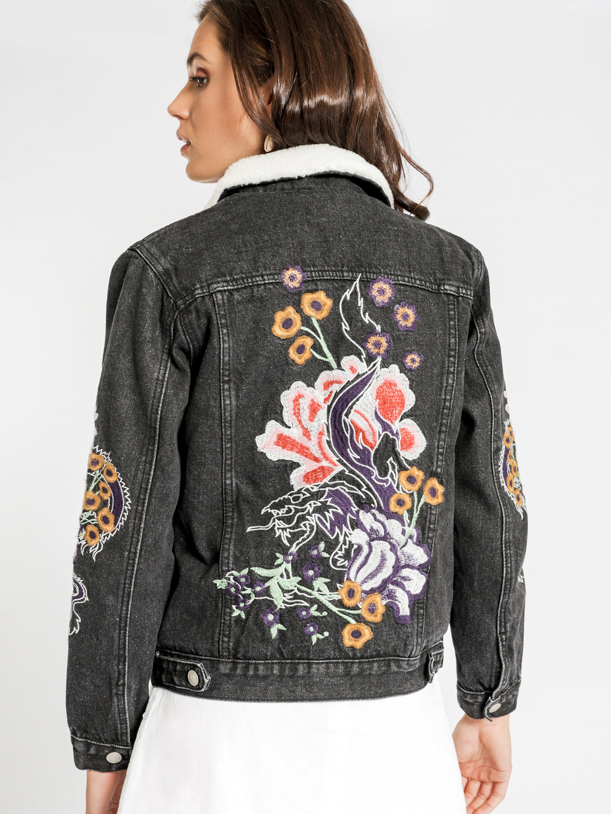 Embroidered Shearling Jacket in Black Denim