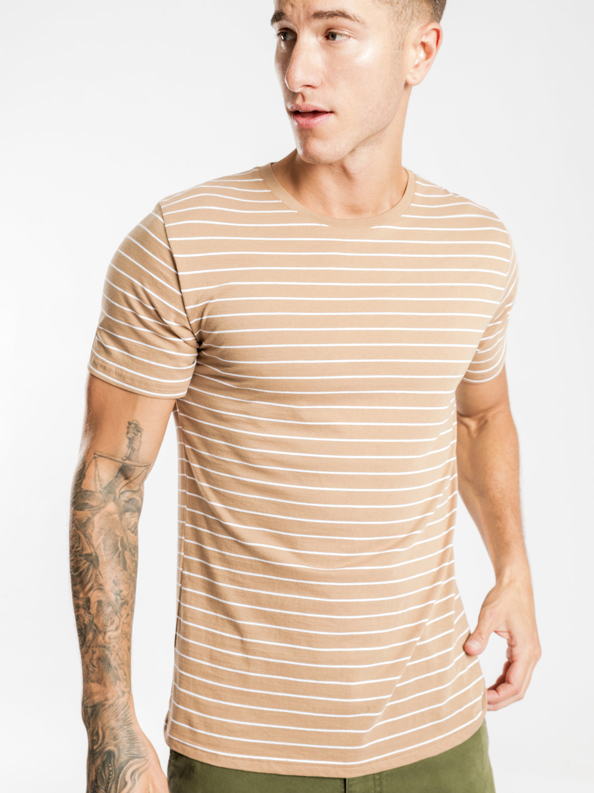 Manual Short Sleeve Stripe T-Shirt in Coffee