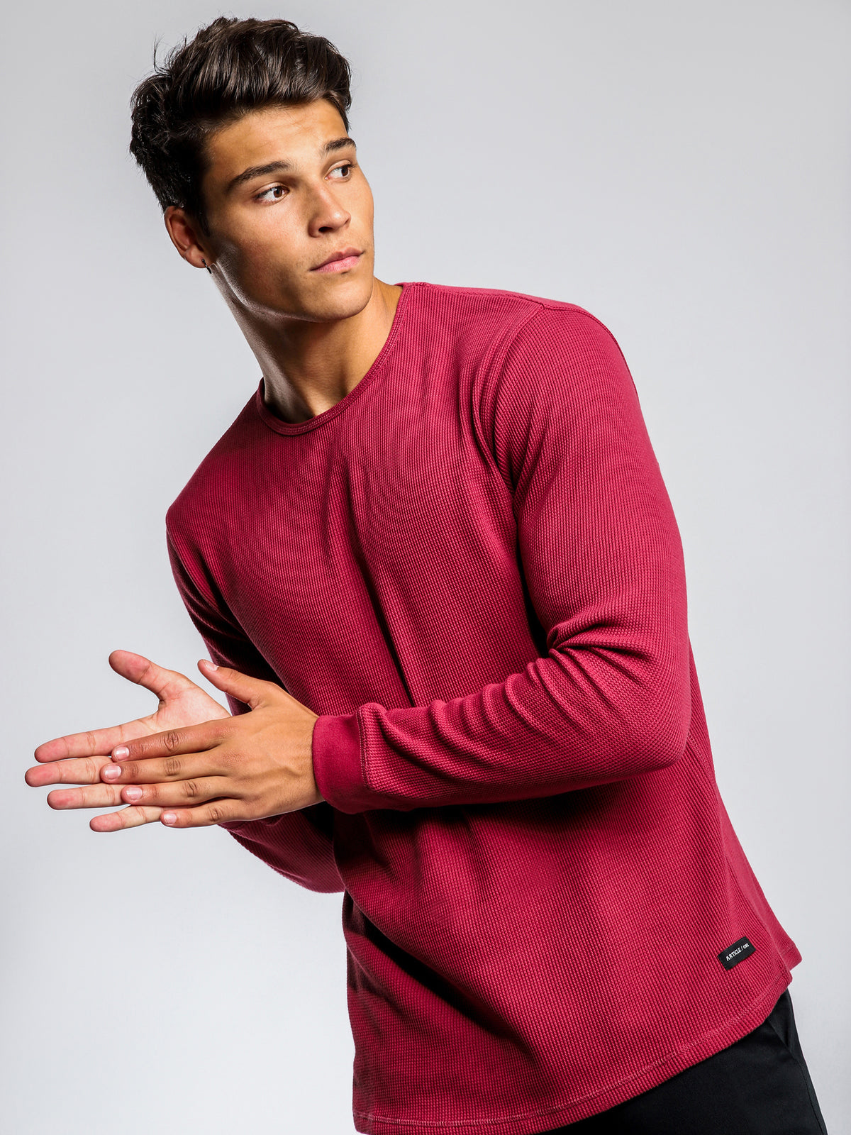 Waffle Long Sleeve Crew Shirt in Washed Port
