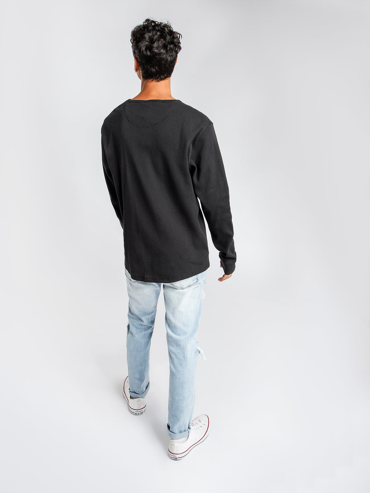 Waffle Long Sleeve Crew Top in Black