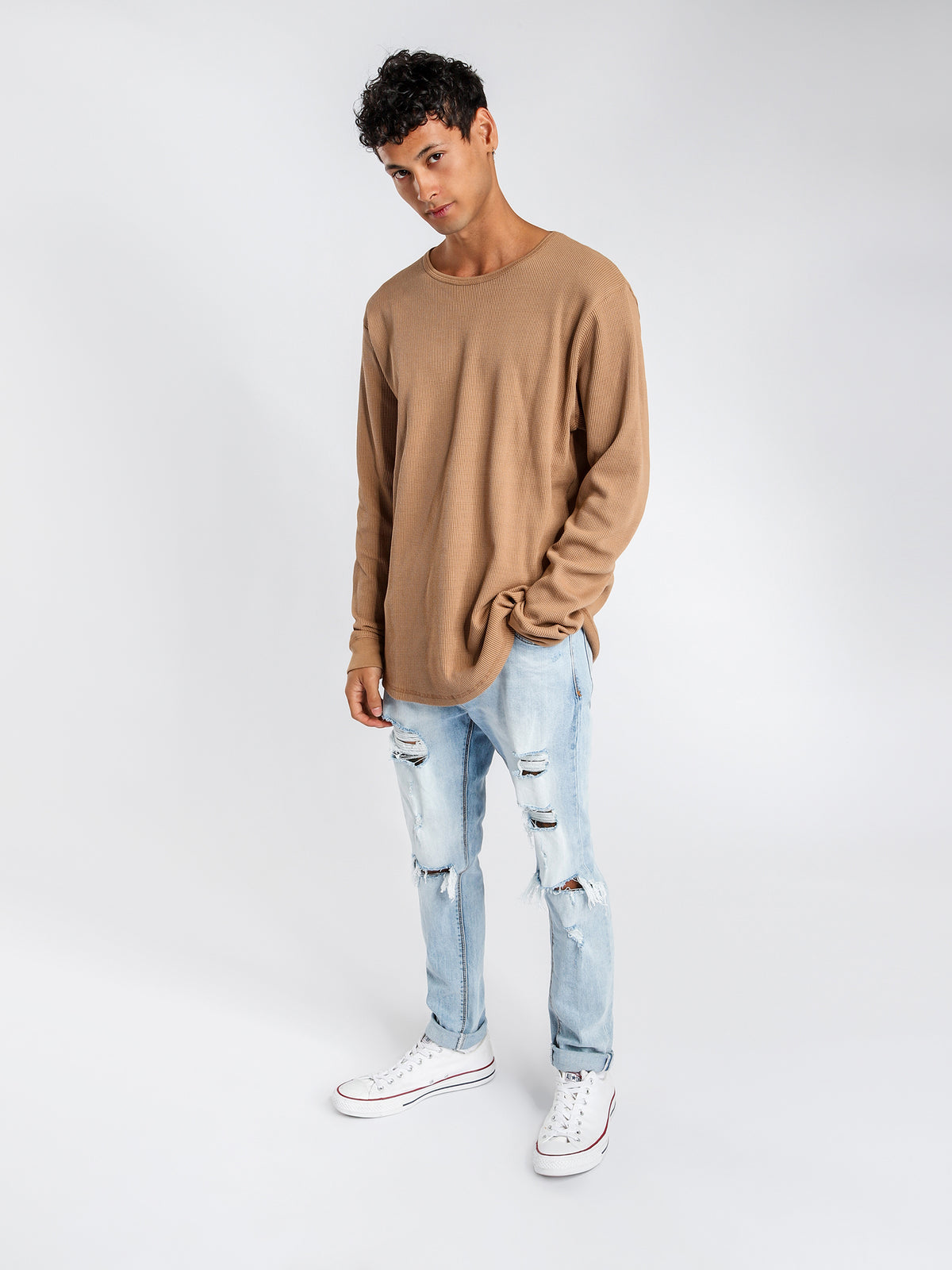 Waffle Long Sleeve Crew Top in Camel