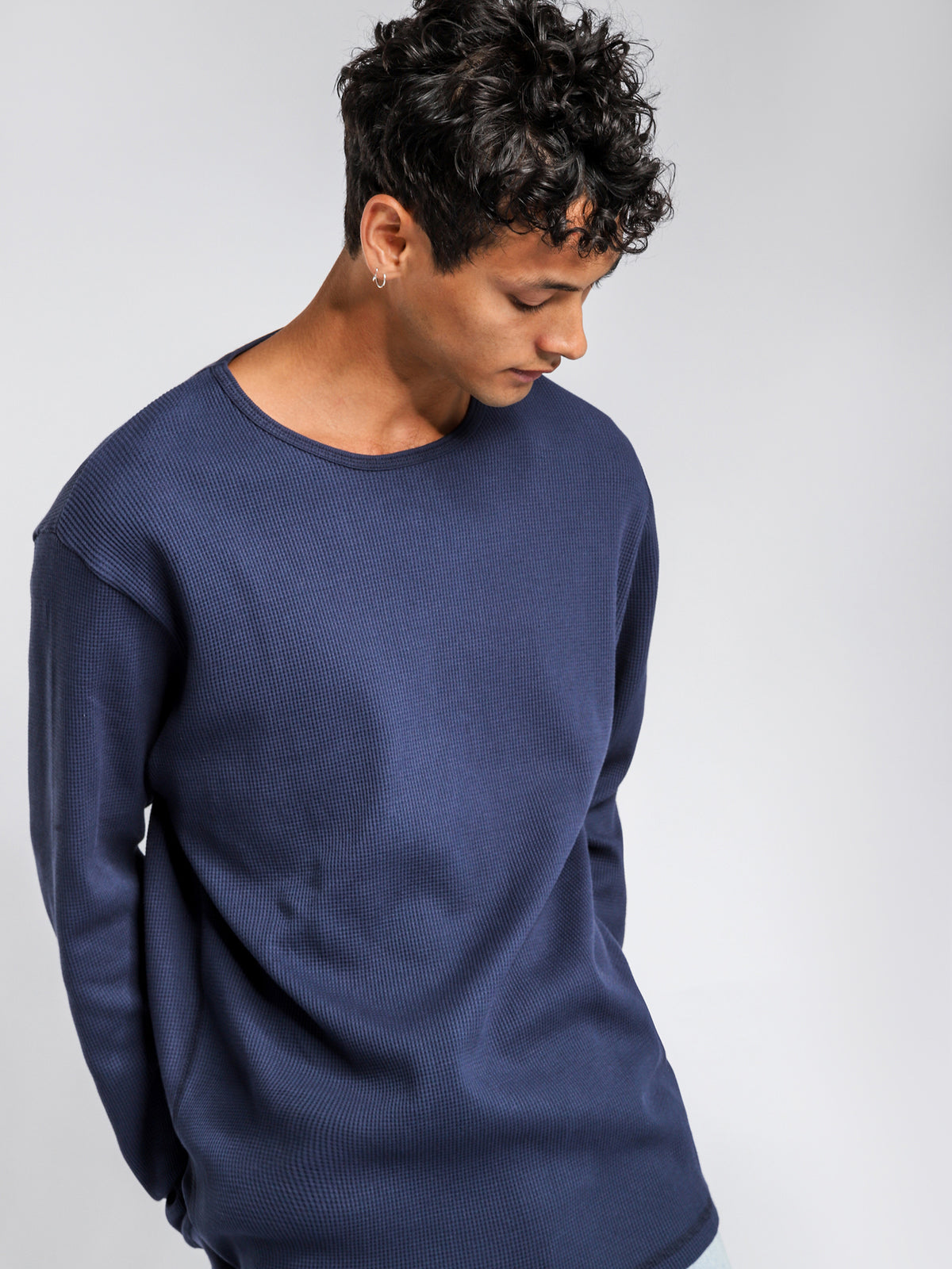 Waffle Long Sleeve Crew Top in Navy