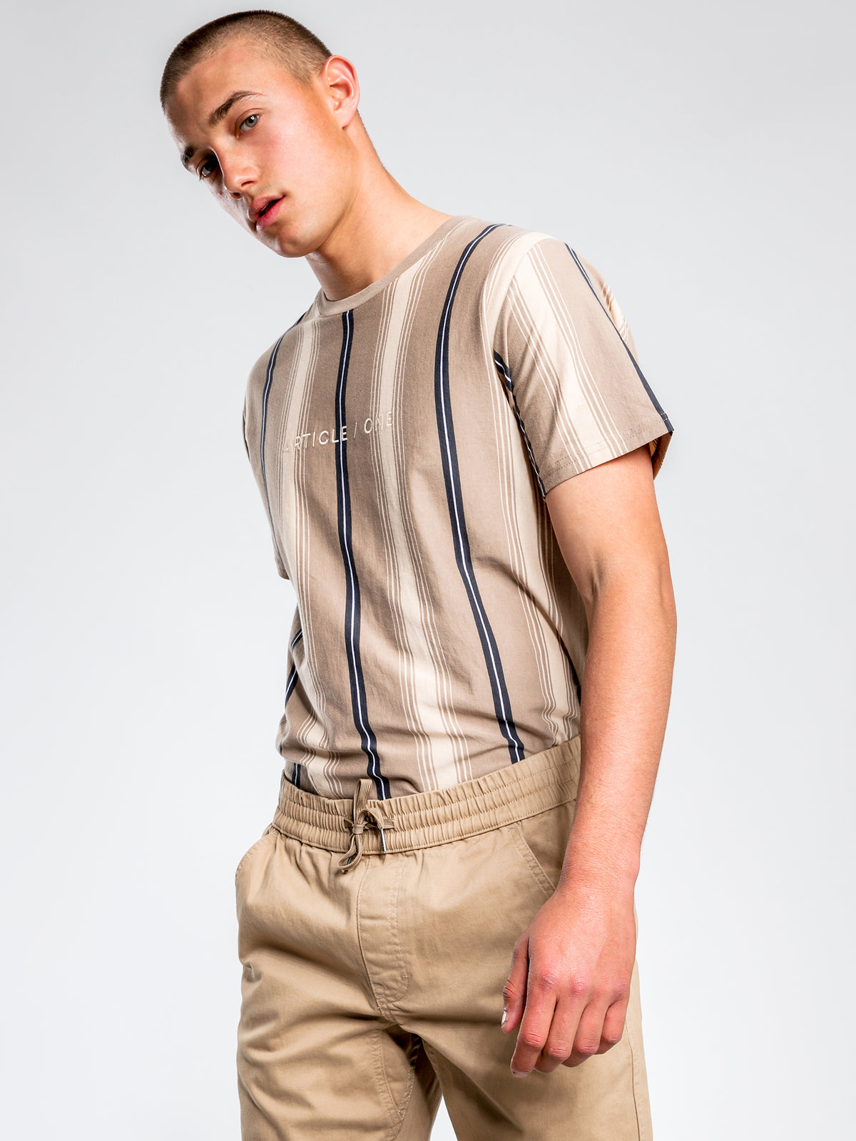Frankie Short Sleeve Vertical Stripe T-Shirt in Dune