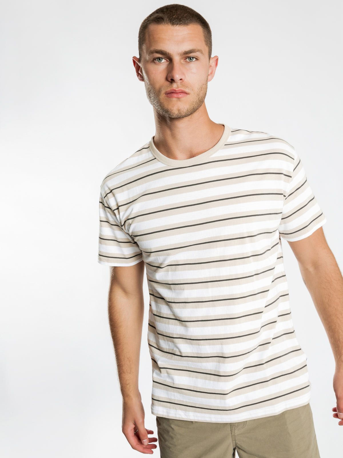 Wanda Stripe T-Shirt in White & Sand