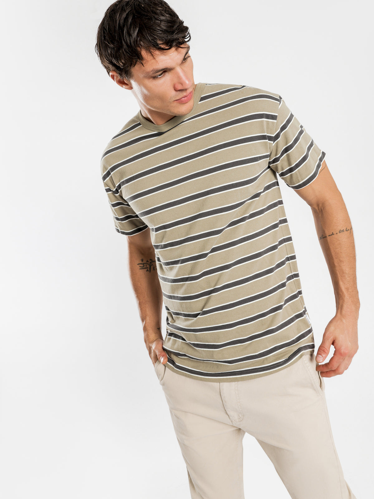Southport T-Shirt in Olive & Charcoal Stripe