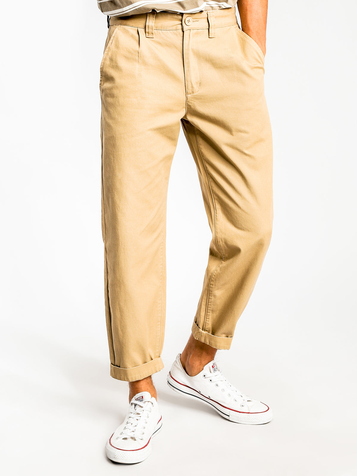Beau Pleated Pants in Stone