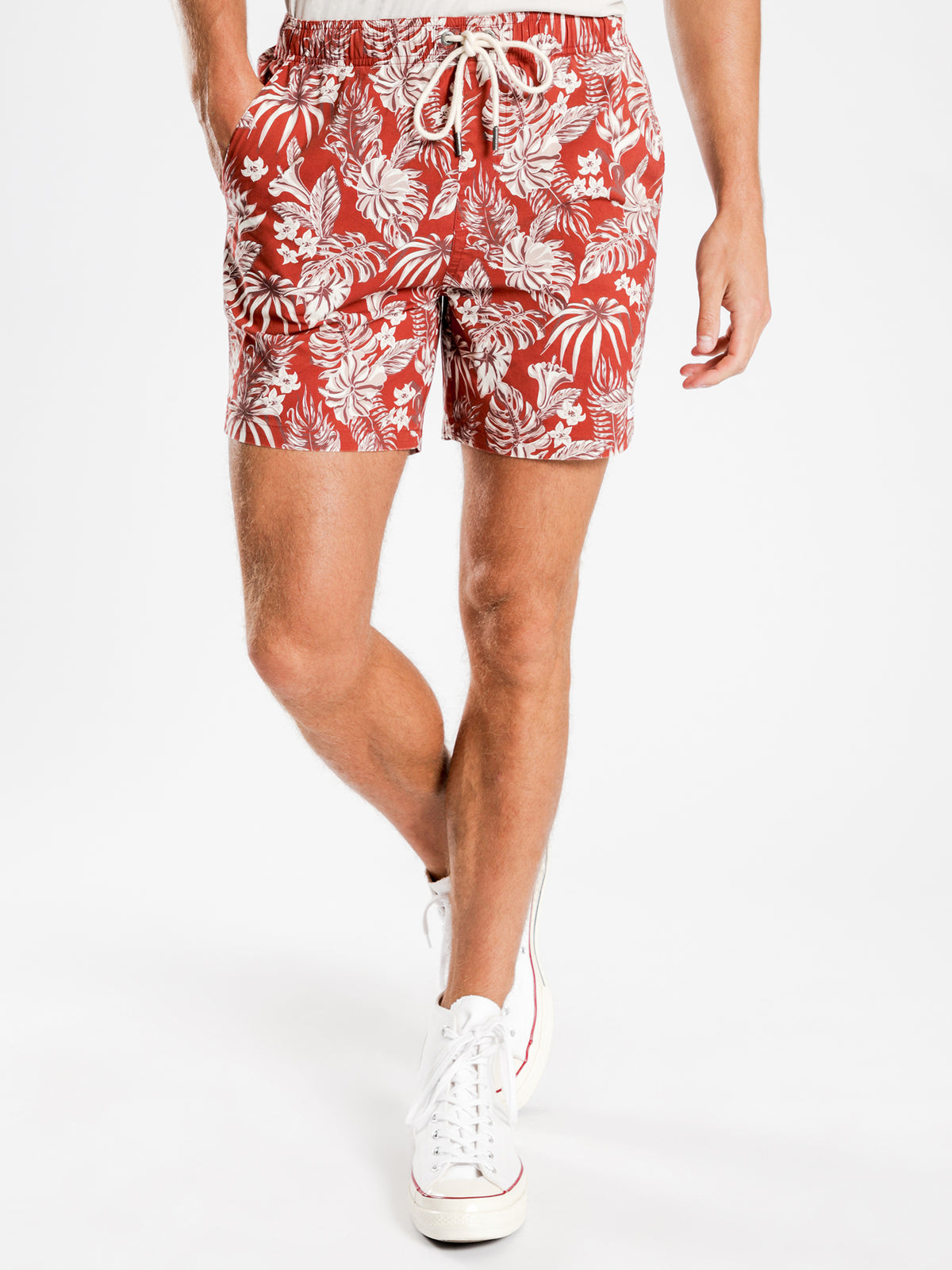 Mahalo Shorts in Burgundy Palms