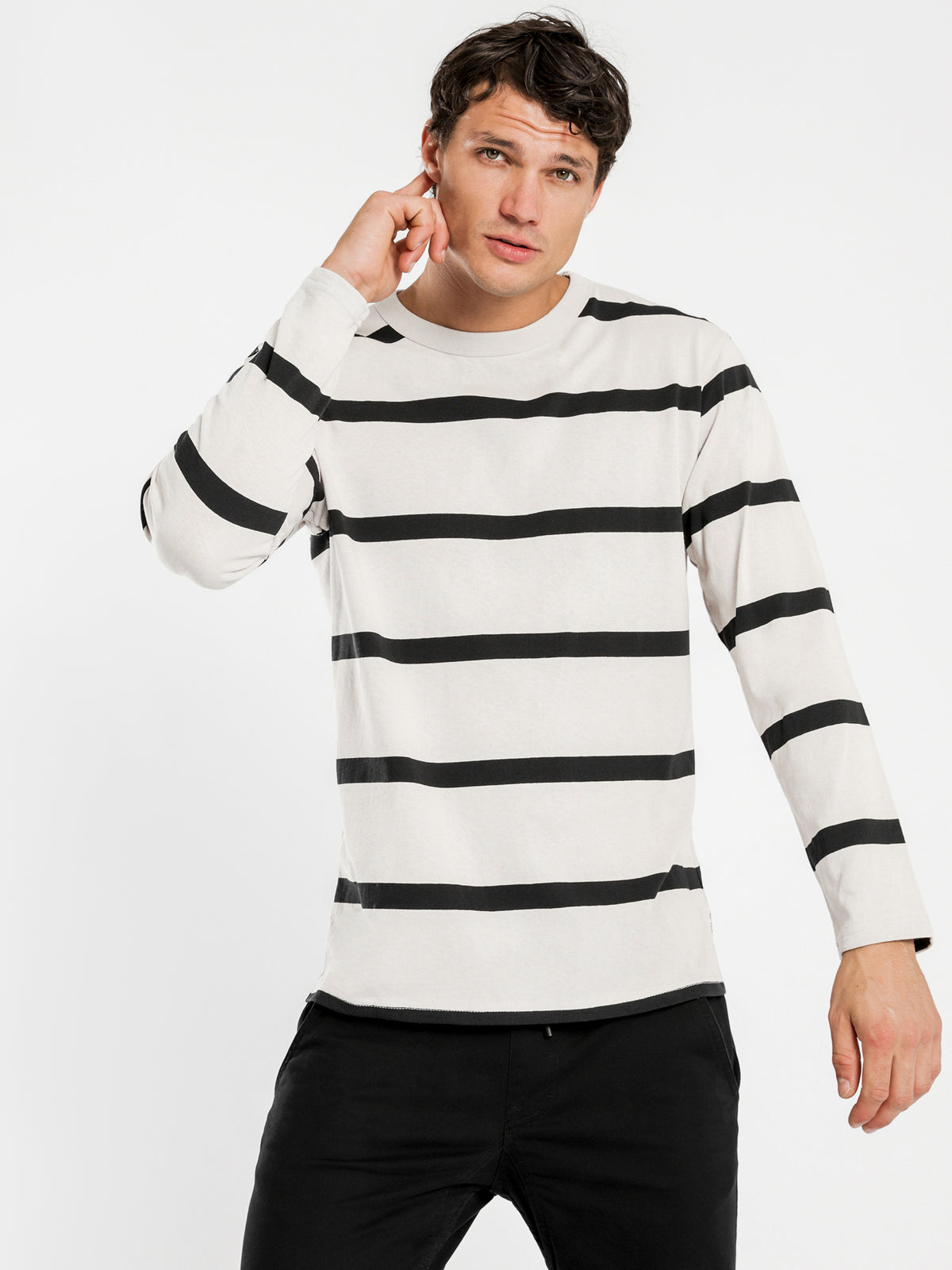 Ezra Long Sleeve T-Shirt in Ecru Stripe