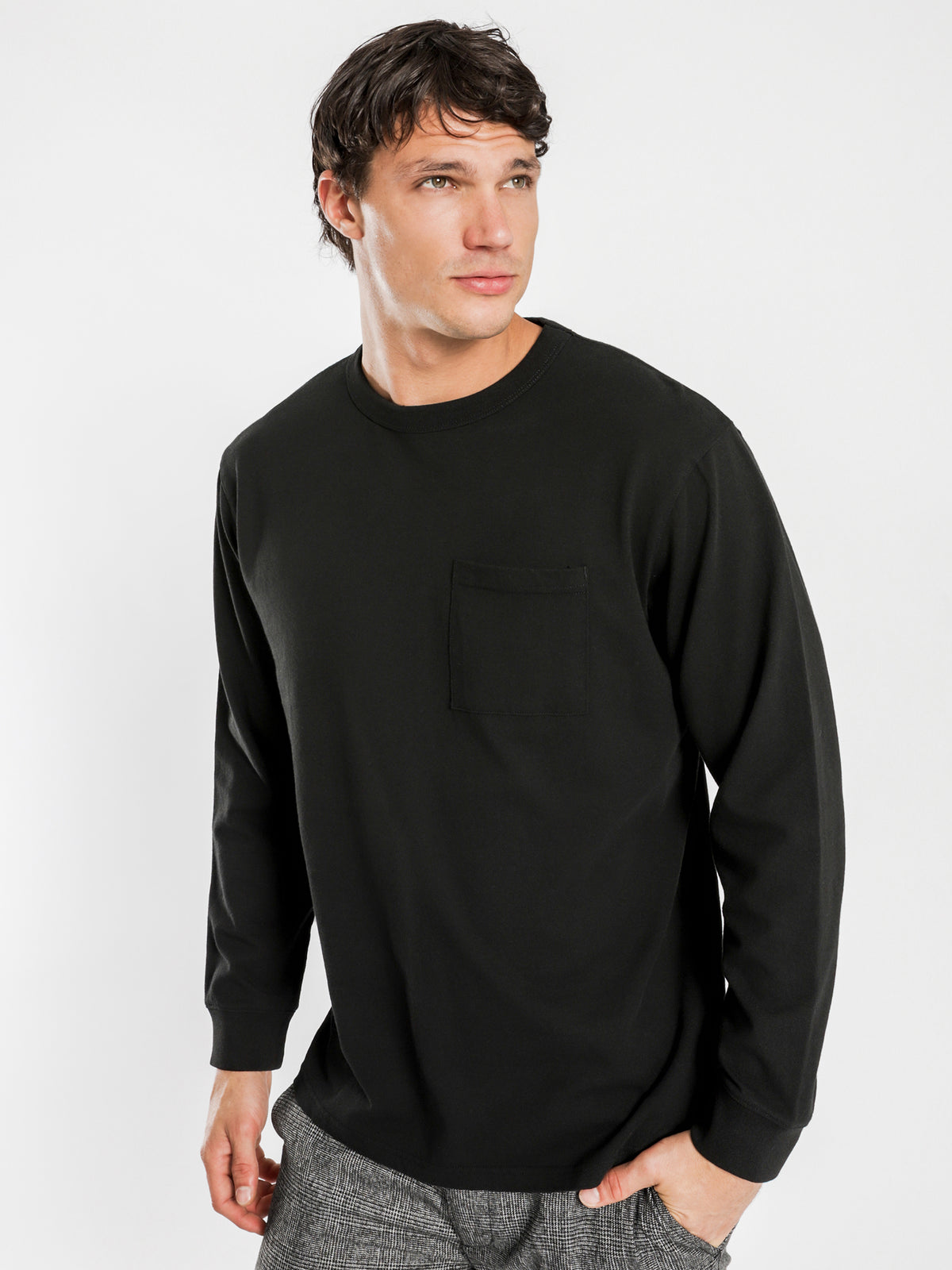 Heavyweight Long Sleeve T-Shirt in Black