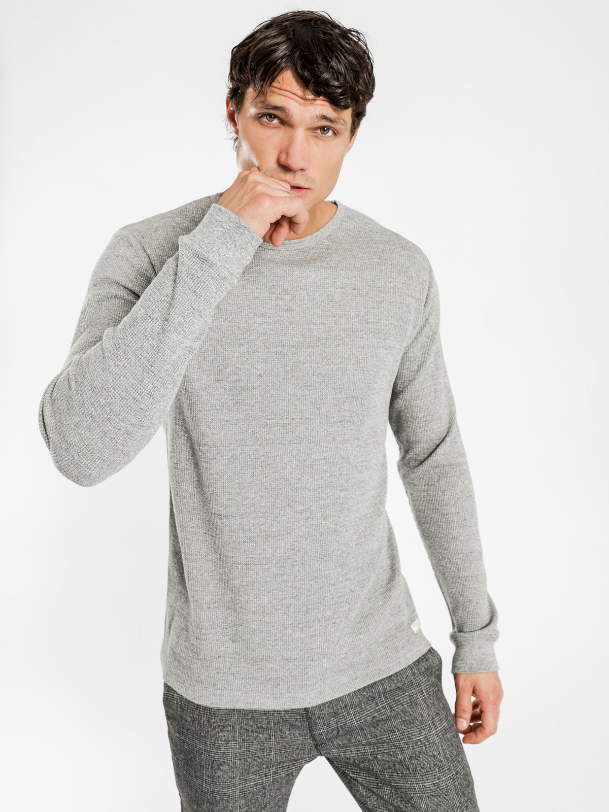 Jax Waffle Long Sleeve Crew in Grey Marle