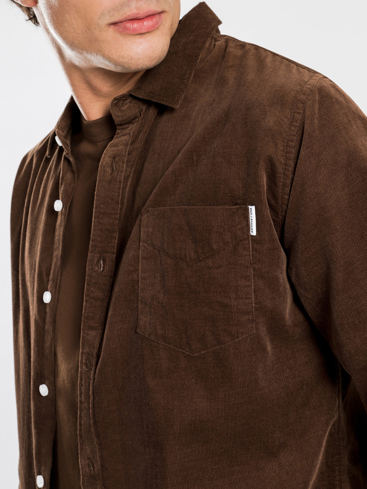 Axel Cord Long Sleeve Shirt in Mahogany