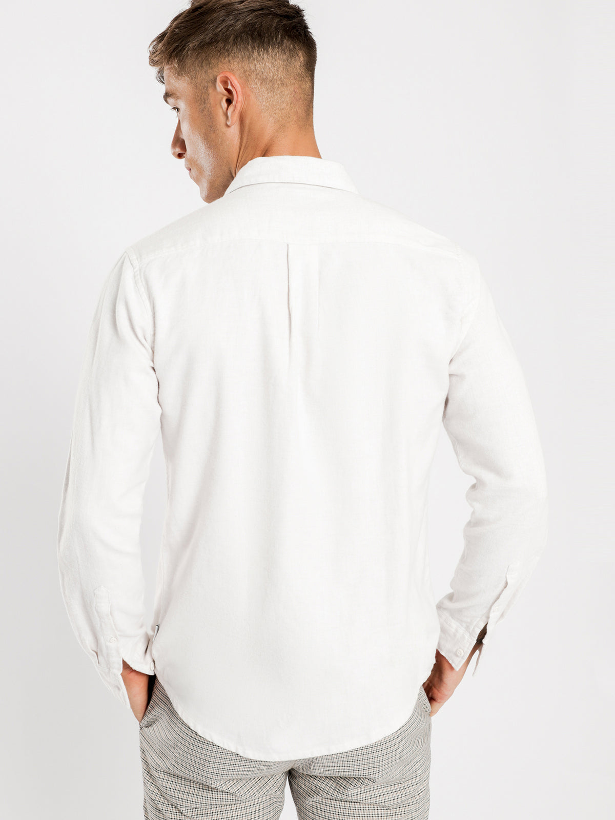 Ryker Flannel Long Sleeve Shirt in Off White