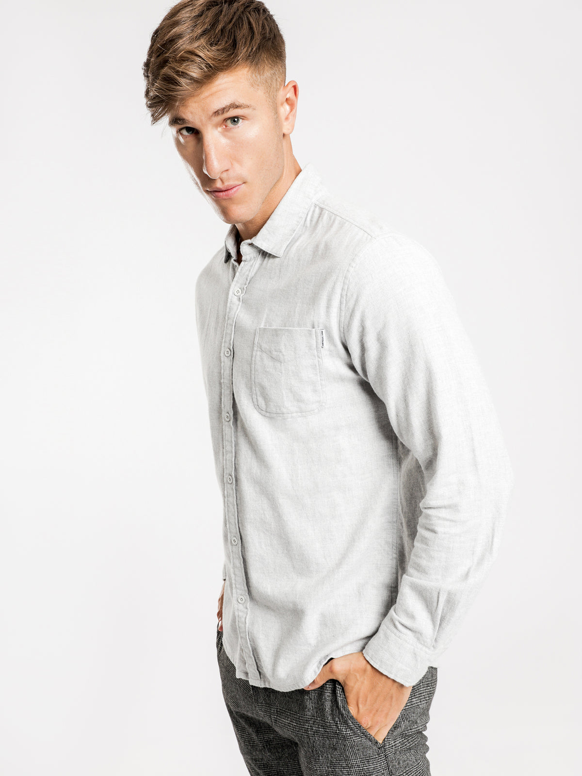 Ryker Flannel Long Sleeve Shirt in Snow Marle