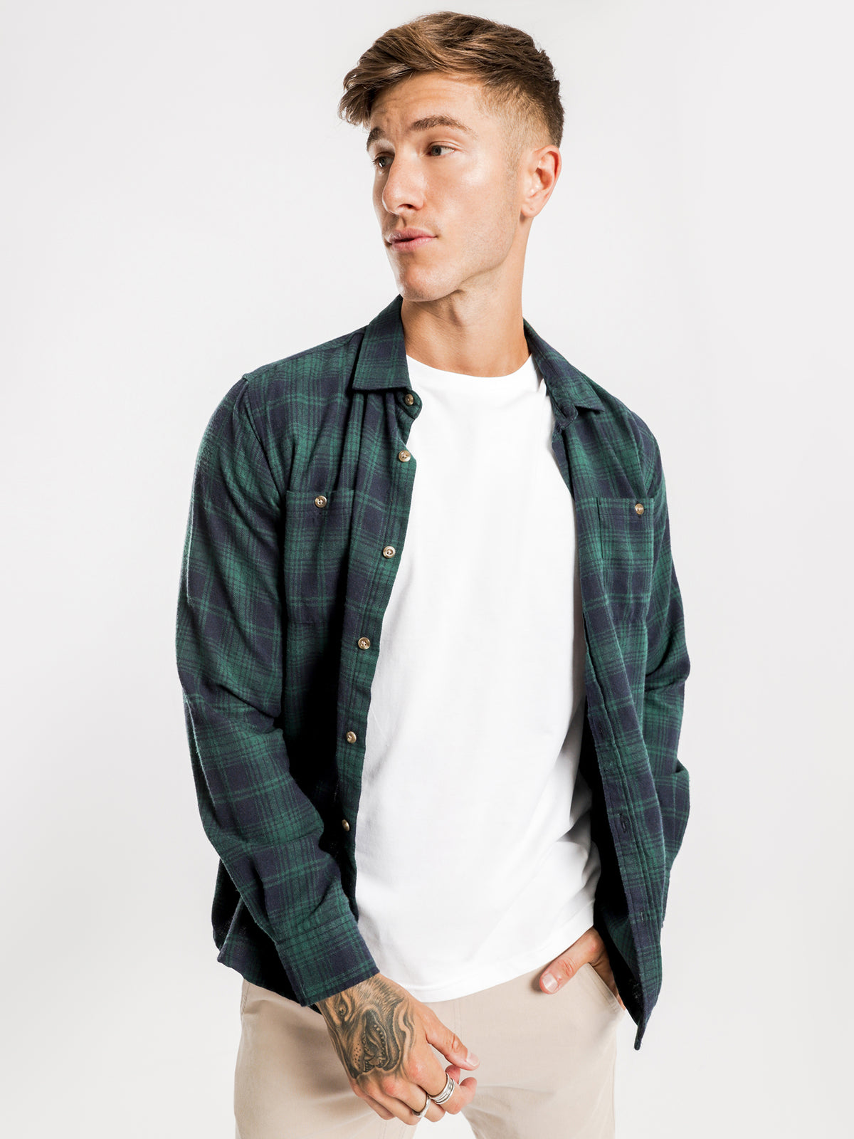 Knox Flannel Shirt in Forest Plaid