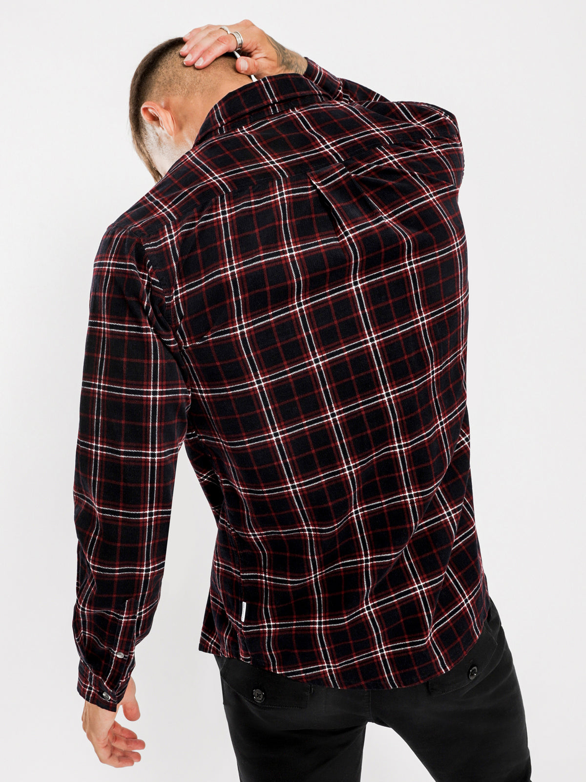 Bryan Cord Long Sleeve Shirt in Navy Plaid