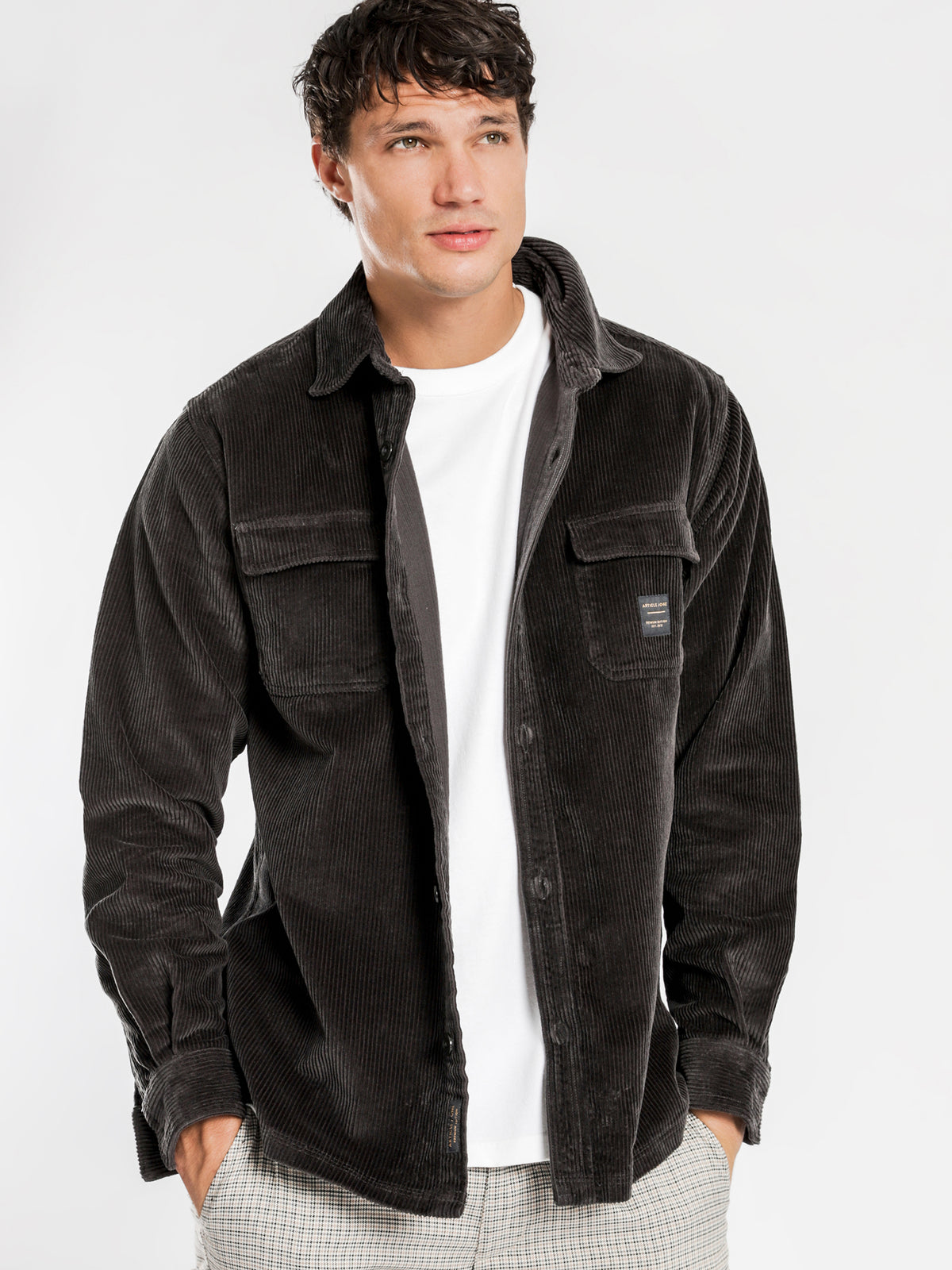 Kai Cord Overshirt in Black
